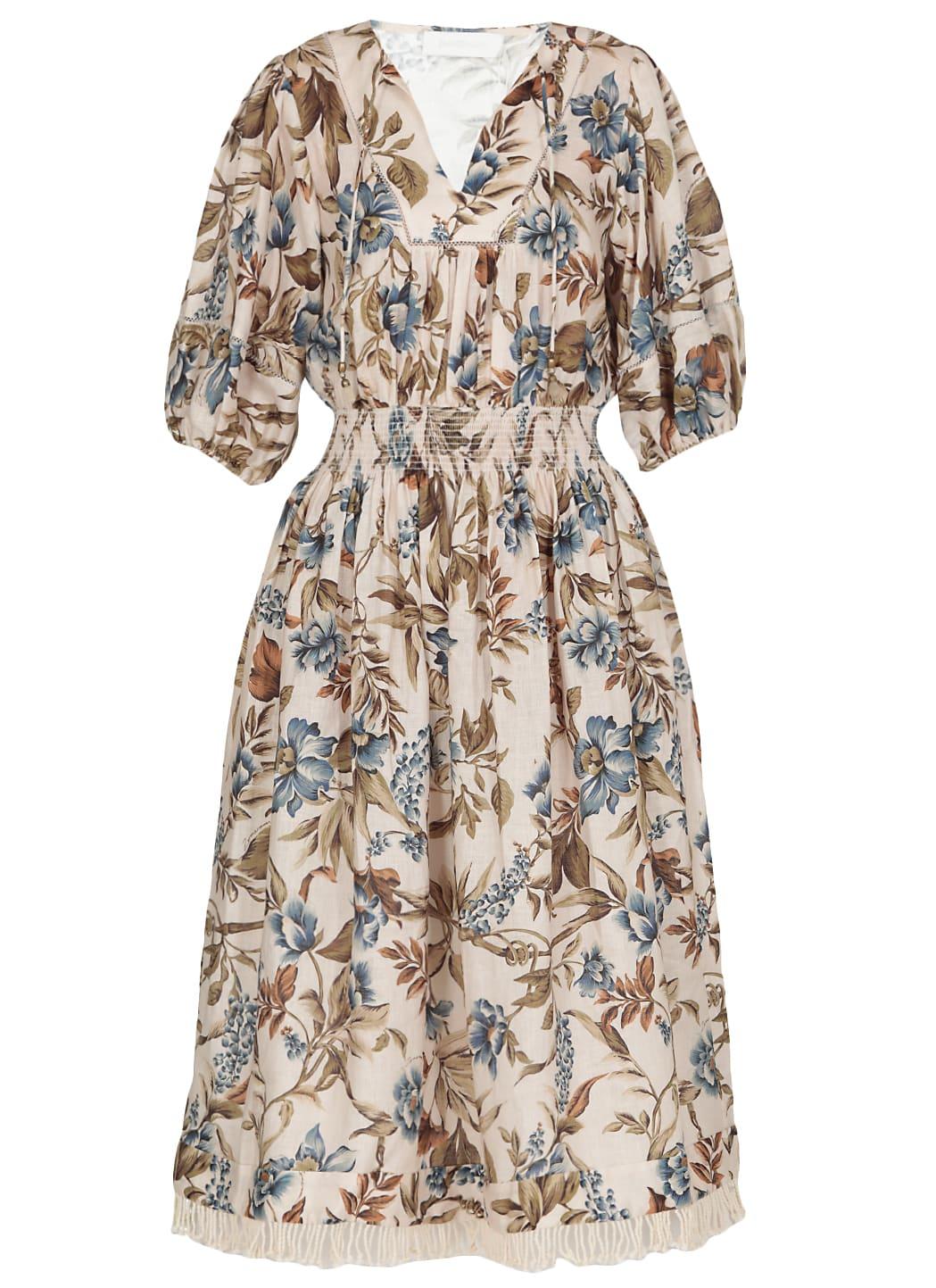 Buy Zimmermann Aliane Shirred Waist Dress online, shop Zimmermann with free shipping