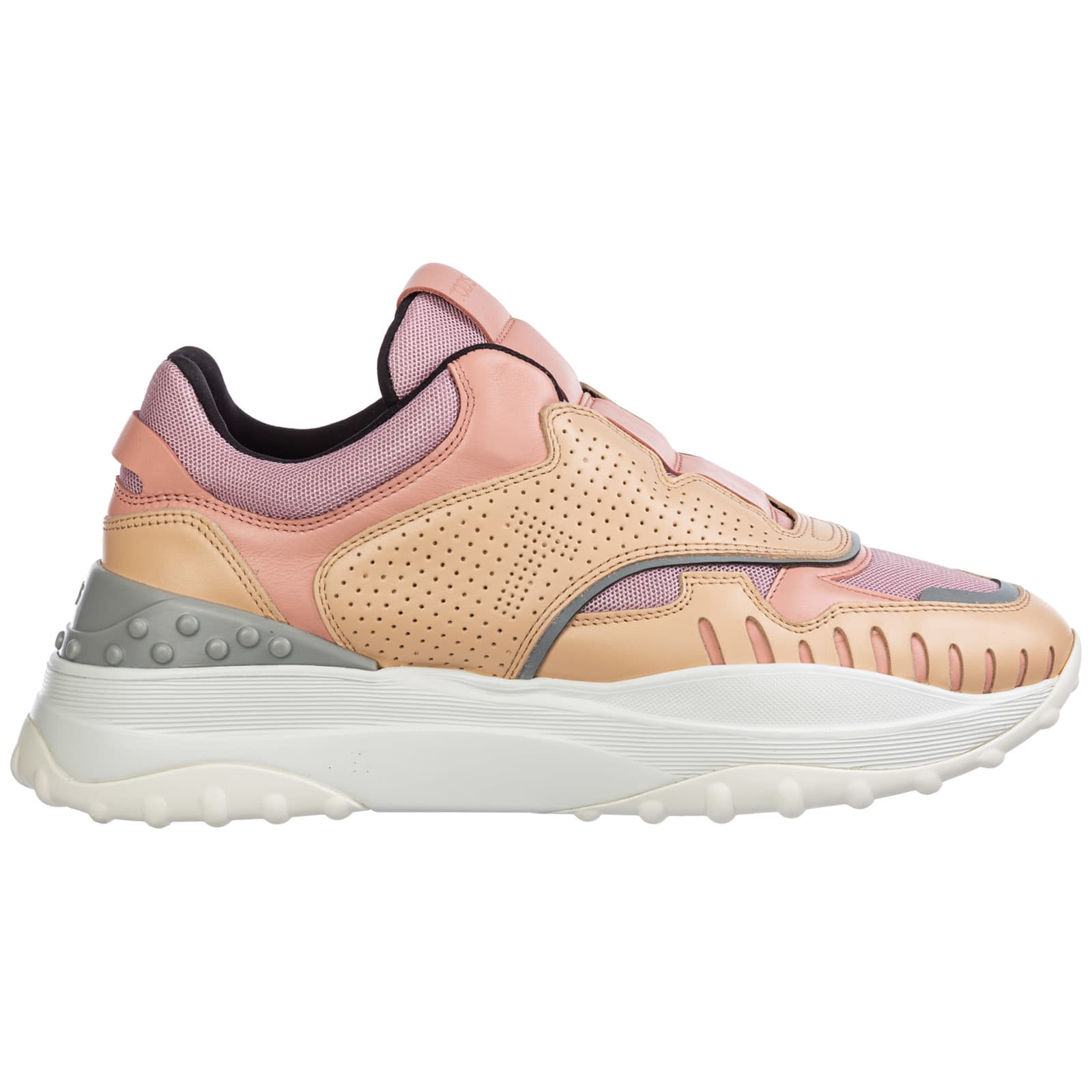 Closure: no closureHeel type: flatMade in ItalyPattern: two-tone patternSole: removable insole, rubber soleSole height: 1. 97 inchToe: round towlineType: sneakersNylon, leather