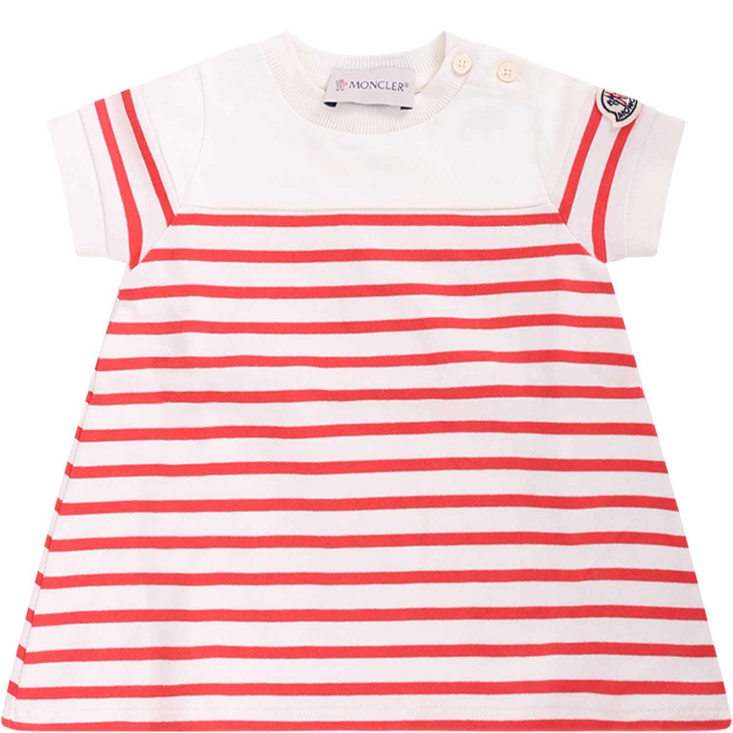 Moncler Ivory Baby Girl Dress With Orange Stripes