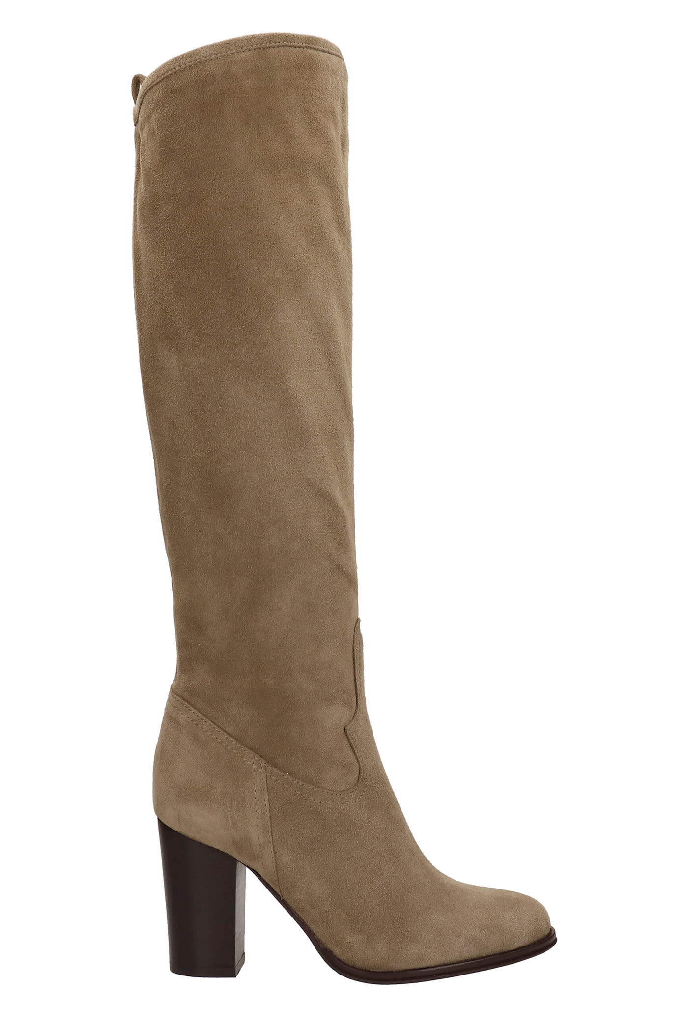 High Heels Boots In Taupe Leather