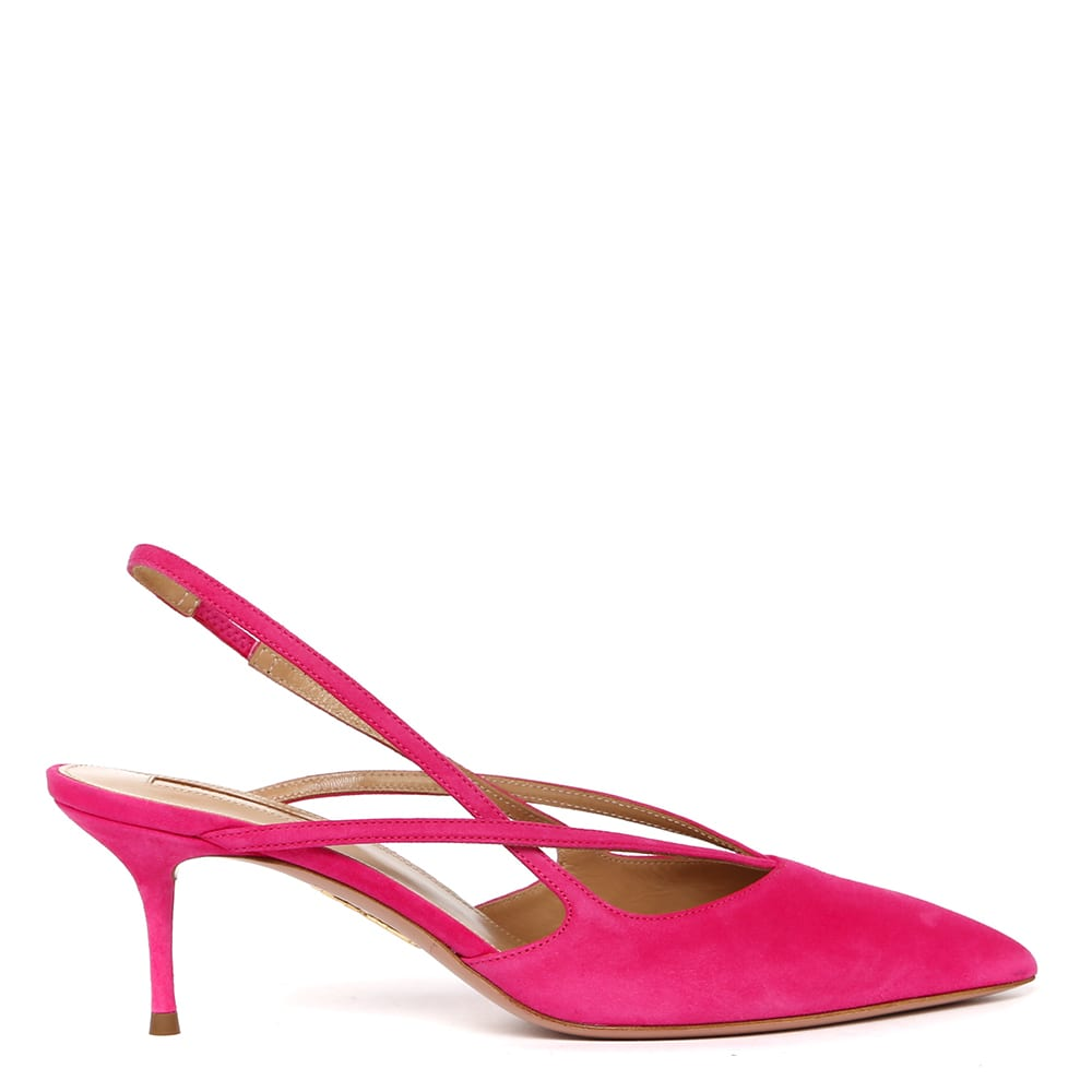 Aquazzura Soul Pink Suede Leather Slingback