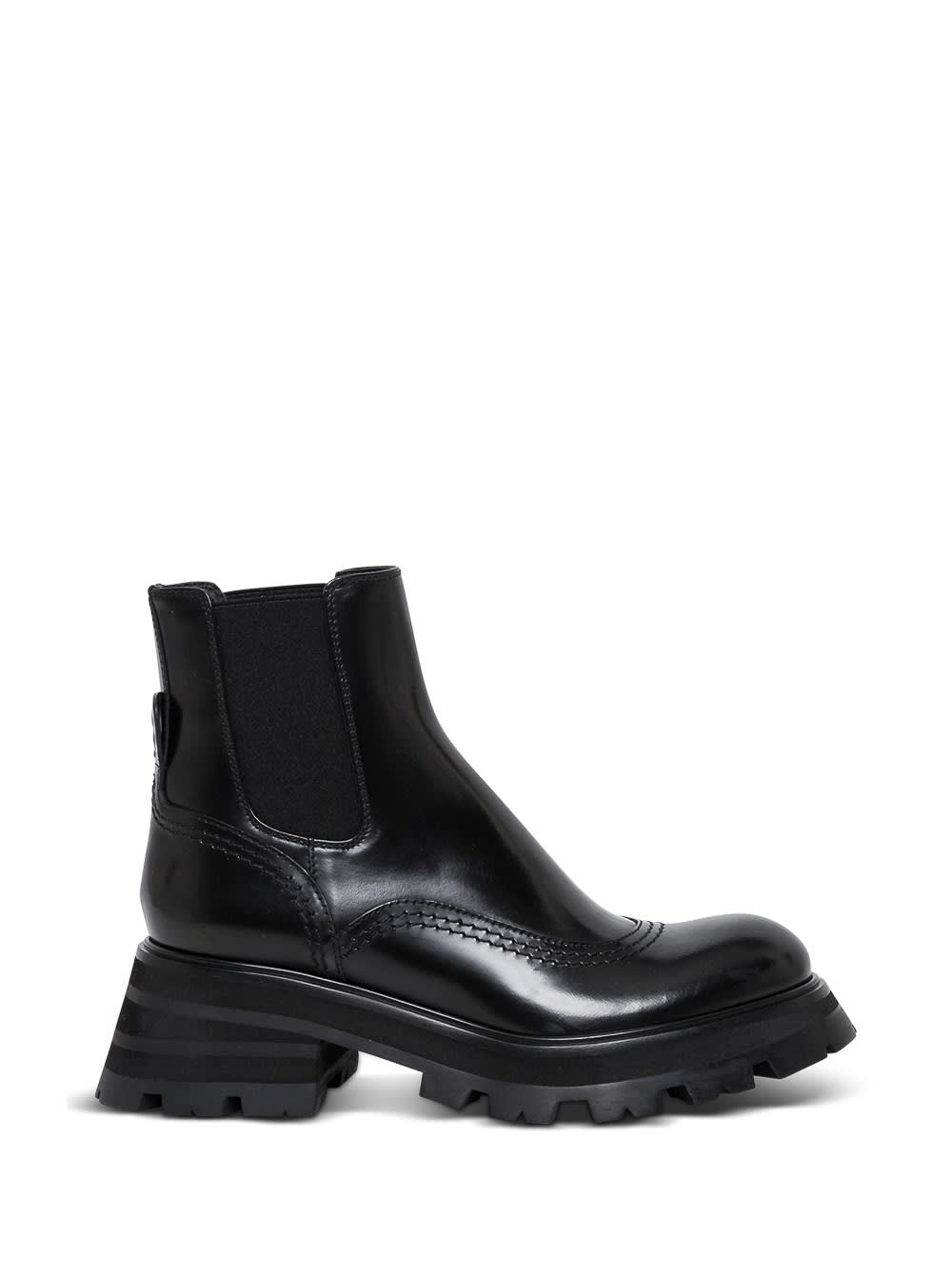 Buy Alexander McQueen Black Leather Ankle Boots online, shop Alexander McQueen shoes with free shipping