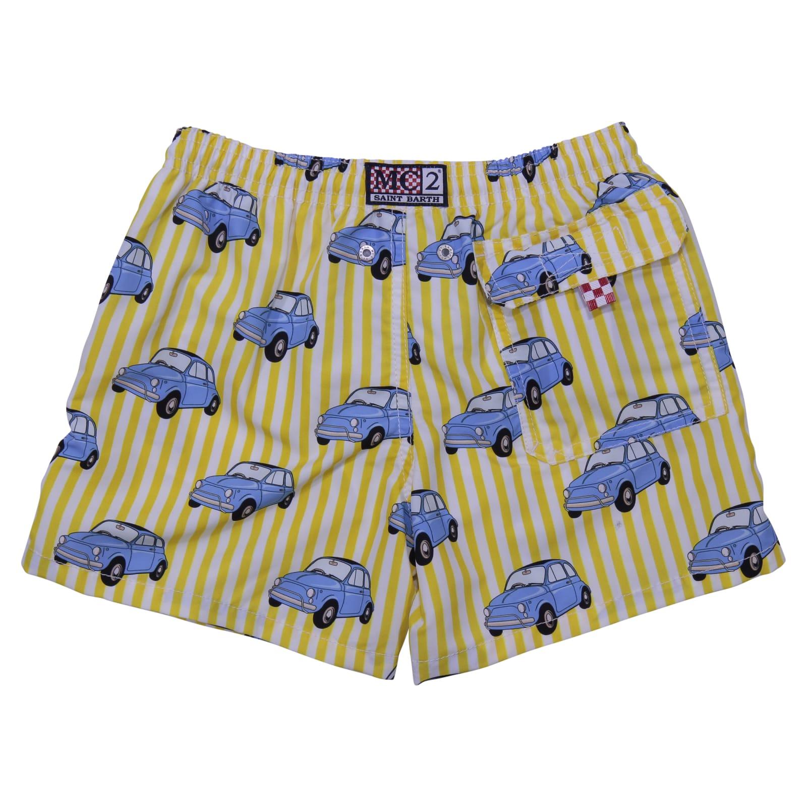 Best price on the market at italist | MC2 Saint Barth MC2 Saint Barth Unique Edition Fiat 500 Print Striped Nylon Swim Shorts