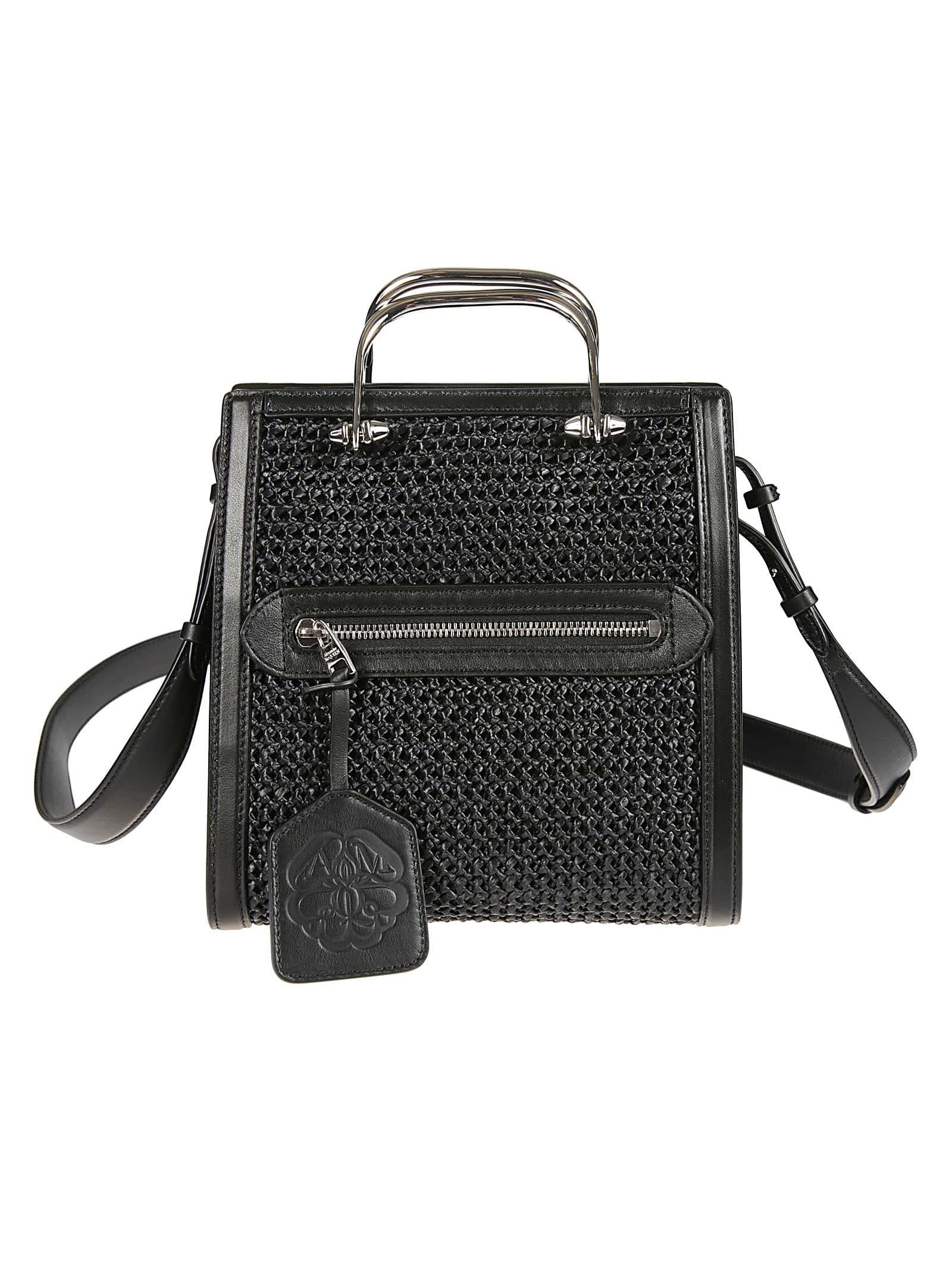 Alexander Mcqueen Metal Handle Woven Shoulder Bag In Black