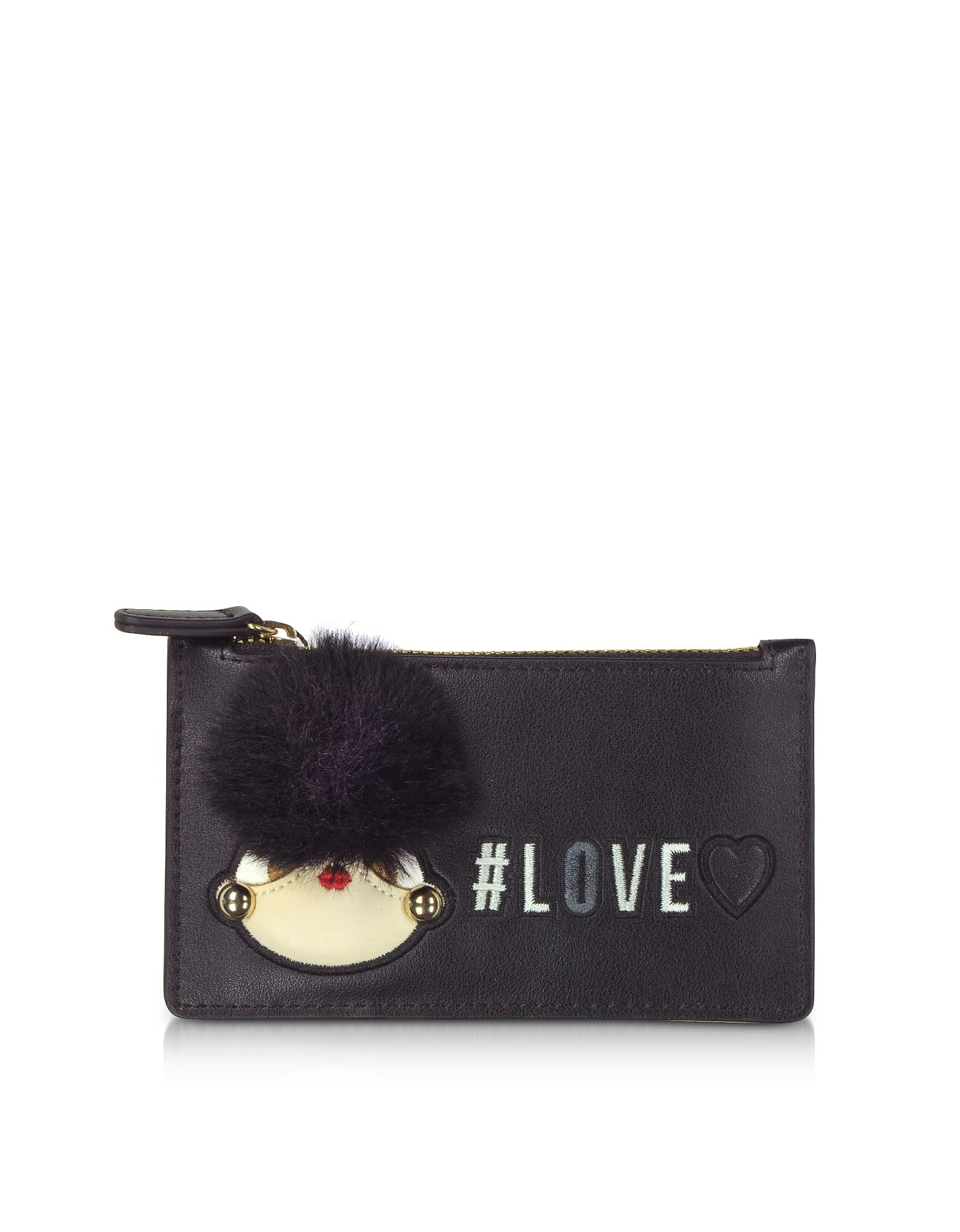 Love Moschino Cardholders BLACK ECO LEATHER CREDIT CARD HOLDER W/ZIP