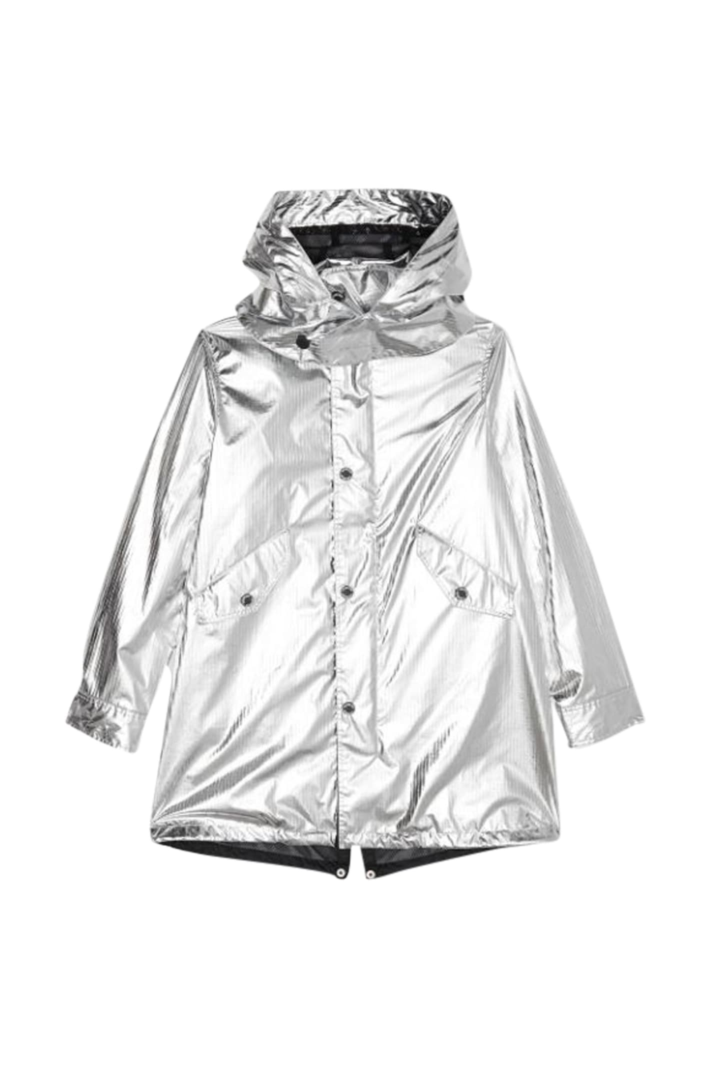 Burberry Kids Detachable Hood Metallic Parka In Argento