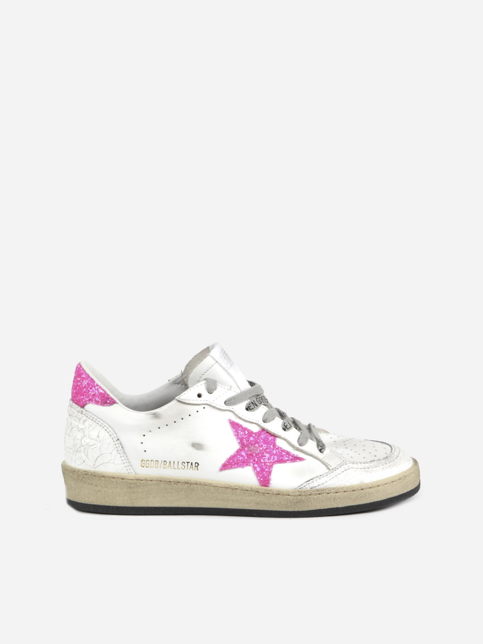 Buy Golden Goose Ball Star Leather Sneaker With Glitter Details online, shop Golden Goose shoes with free shipping