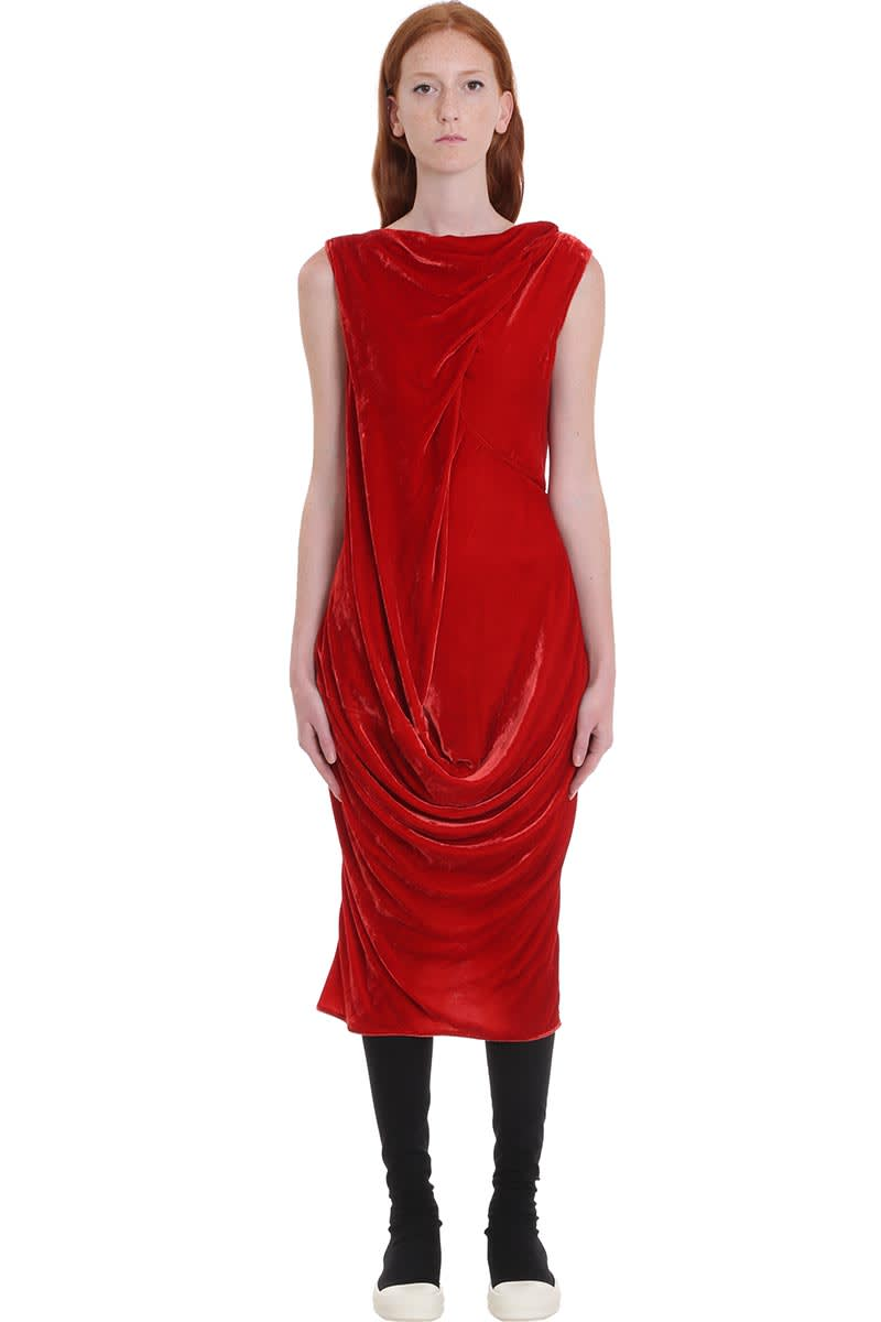 Buy Slash Neck Dress In Red Velvet online, shop Rick Owens with free shipping