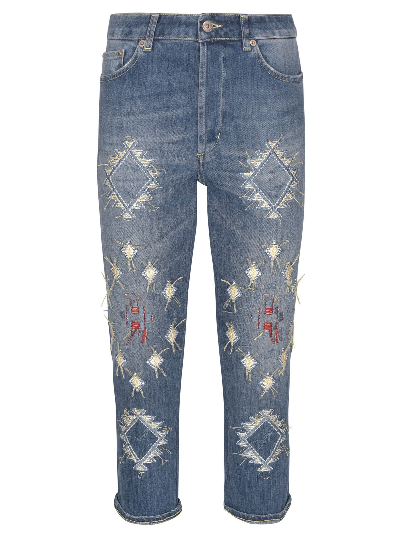 Dondup EMBROIDERED CROPPED JEANS