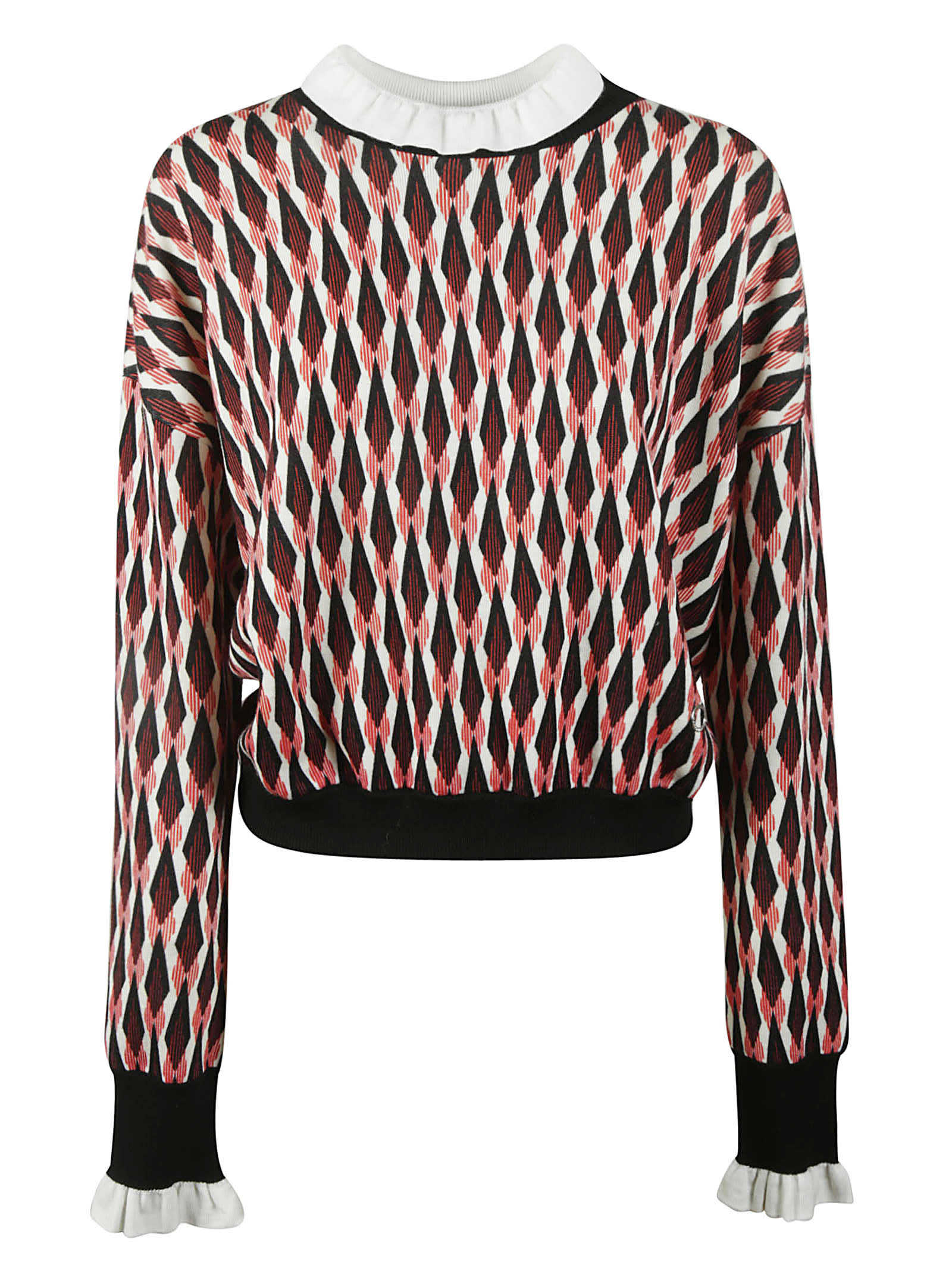 Paco Rabanne Pattern Print Rib Sweater In Red