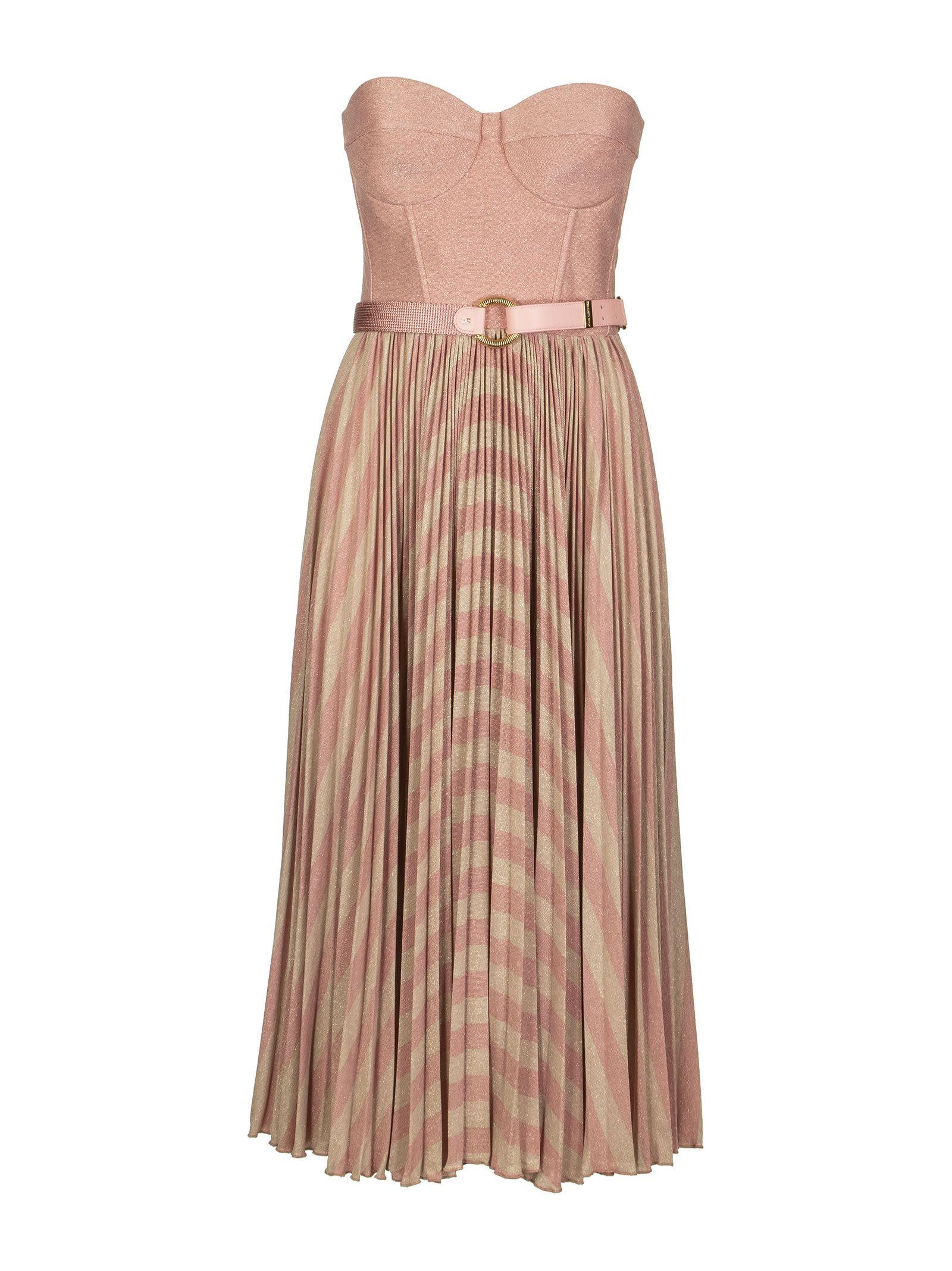 Buy Elisabetta Franchi Celyn B. Sleeveless Dress With Belt online, shop Elisabetta Franchi Celyn B. with free shipping