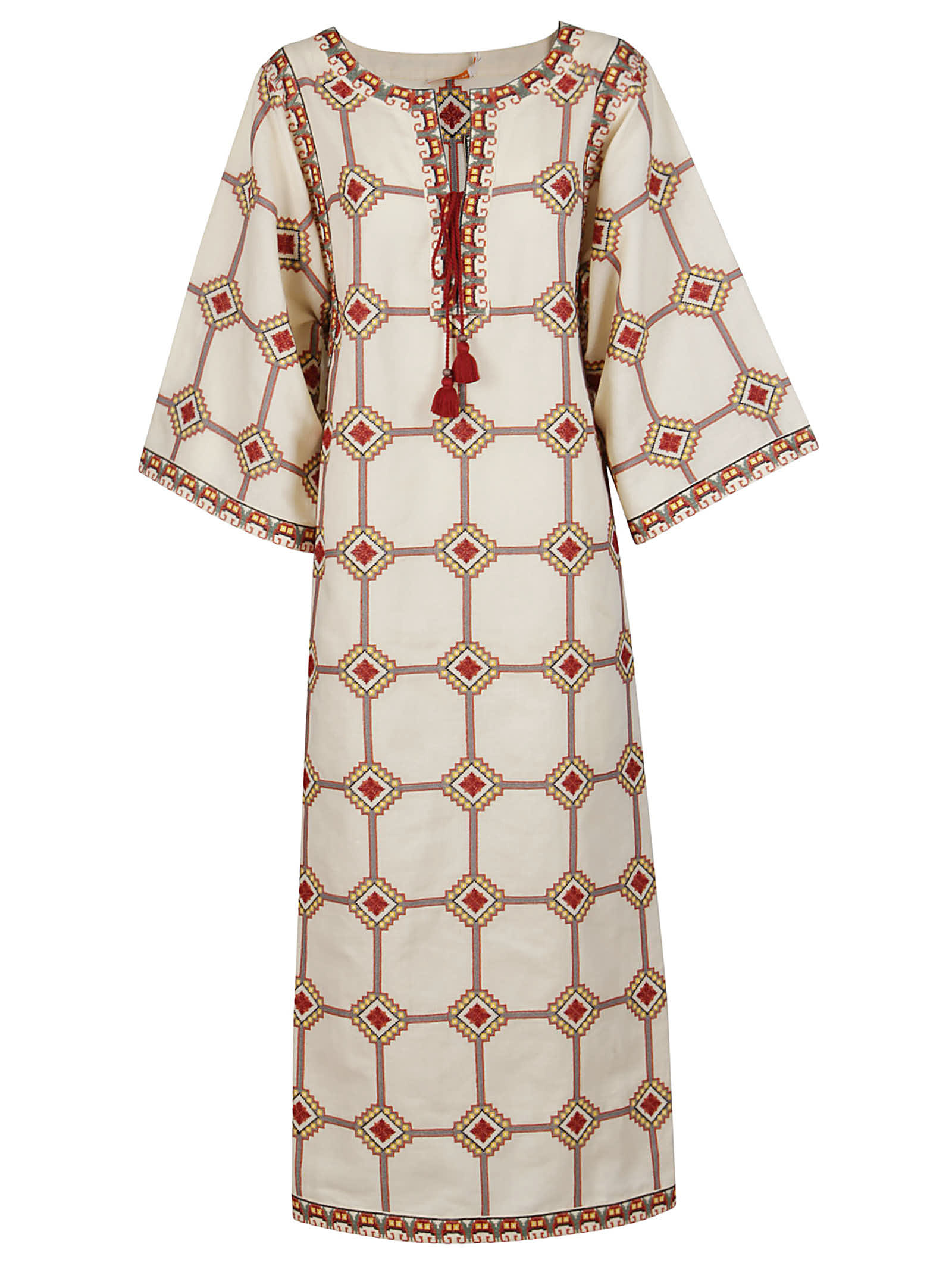 Buy White And Red Linen-cotton Blend Dress online, shop Tory Burch with free shipping