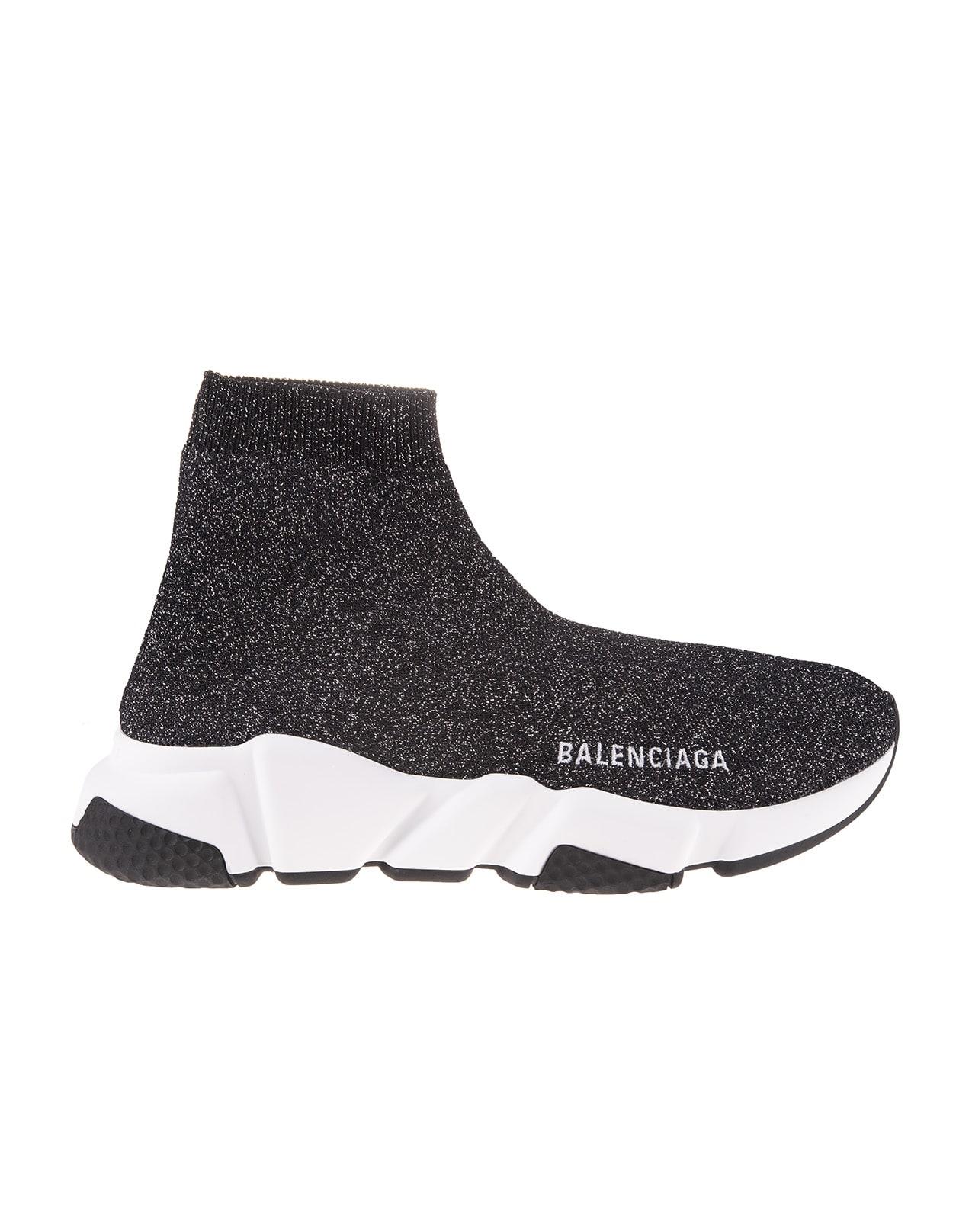 Buy Balenciaga Woman Speed Sneakers In Black-silver Lurex online, shop Balenciaga shoes with free shipping