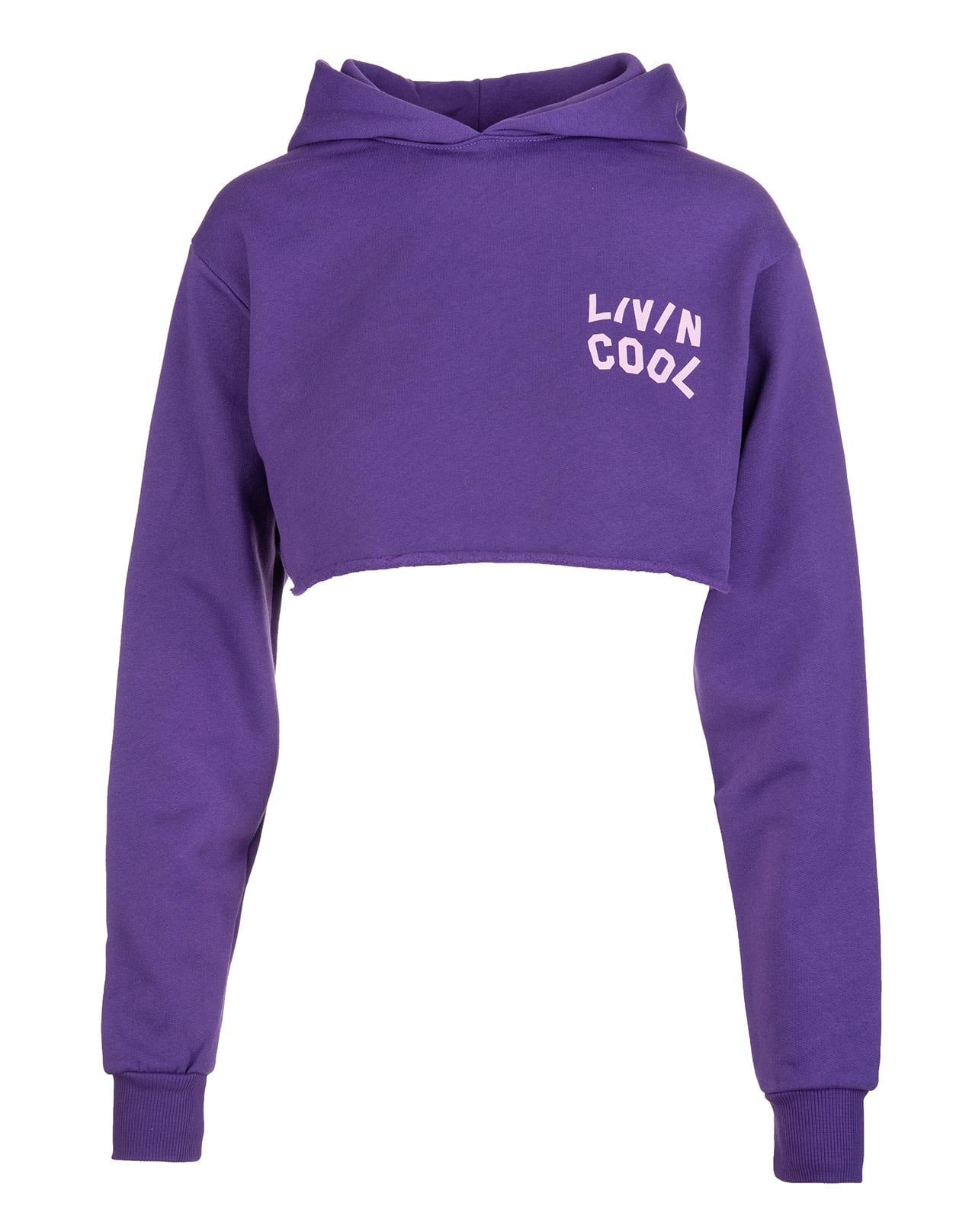 Woman Purple Crop Hoodie With Logo