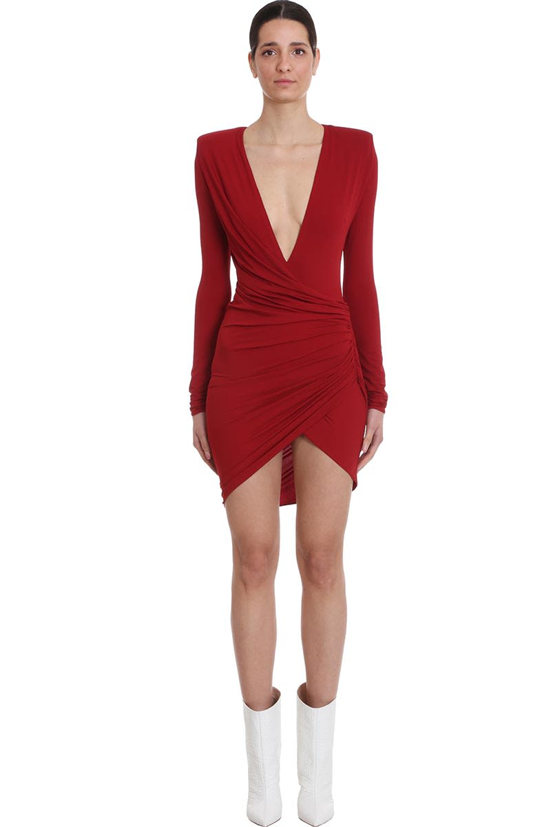 Buy Alexandre Vauthier Dress In Red Viscose online, shop Alexandre Vauthier with free shipping