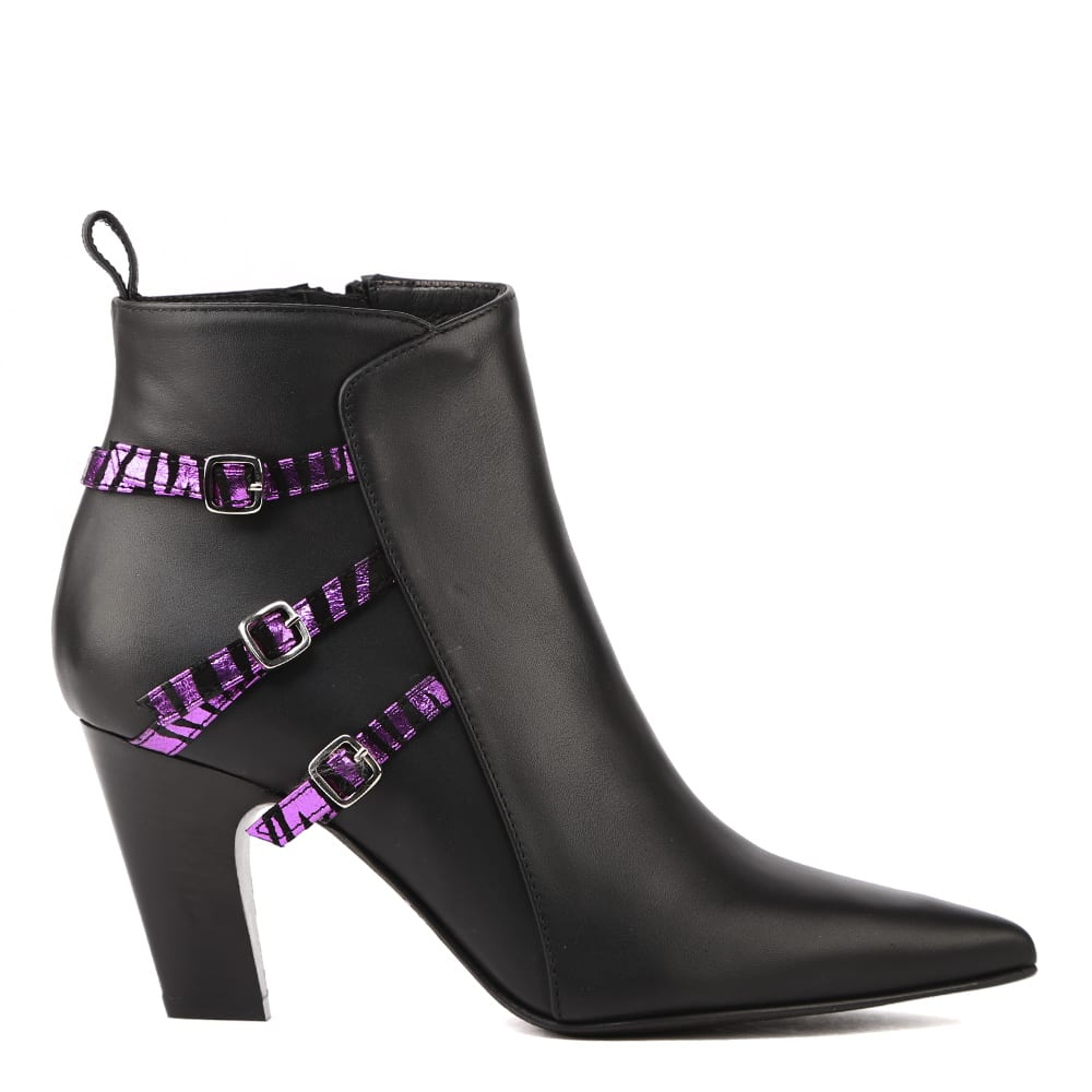 Black Leather Ankle Boots With Zebra Effect Strap
