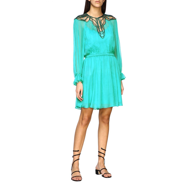 Buy Alberta Ferretti Dress Alberta Ferretti Chiffon Dress With Embroidery On The Neckline online, shop Alberta Ferretti with free shipping