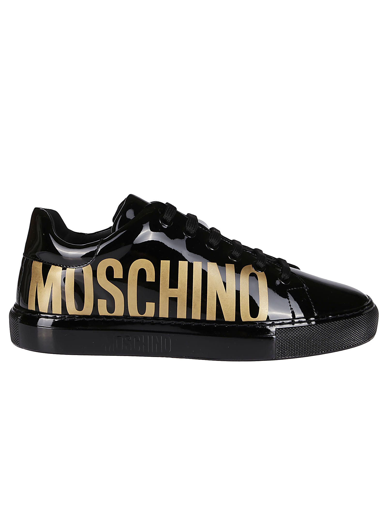 Moschino BLACK LEATHER SNEAKERS