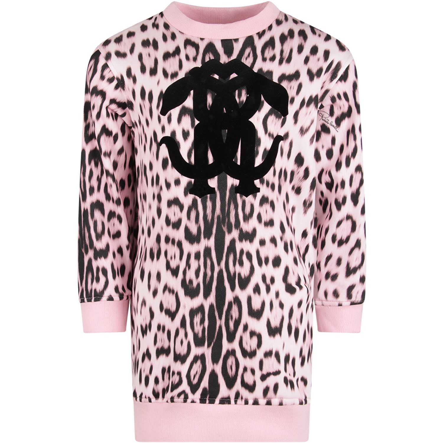 Roberto Cavalli Pink Girl Dress With Black Logo