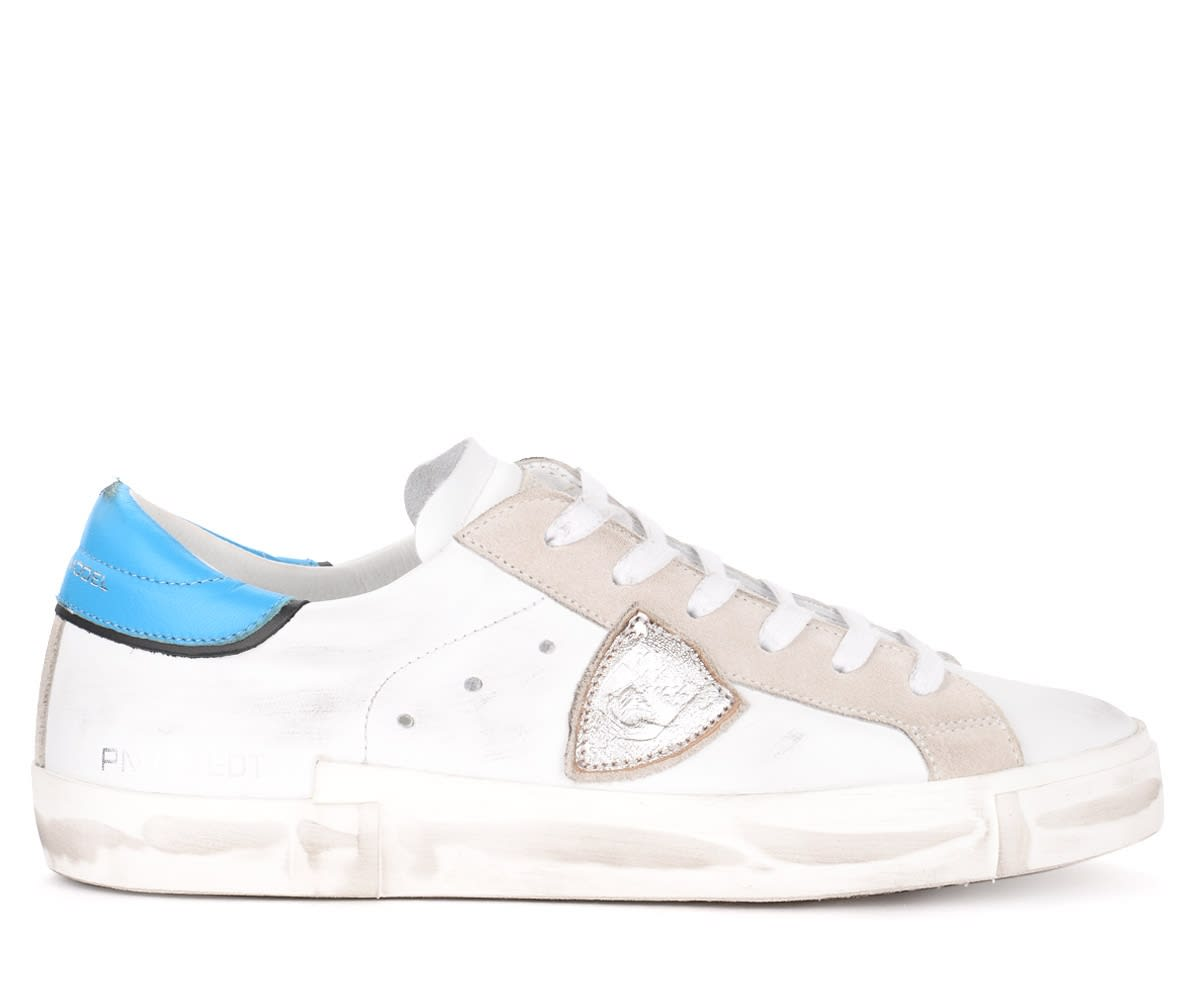Philippe Model Paris X Model Sneaker Made Of White Leather With Light Blue Spoiler