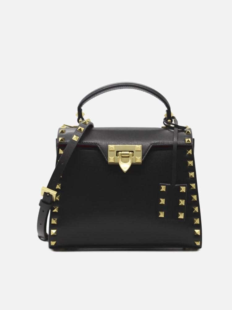 Valentino Garavani Small Rockstud Alcove Leather Bag In Nero