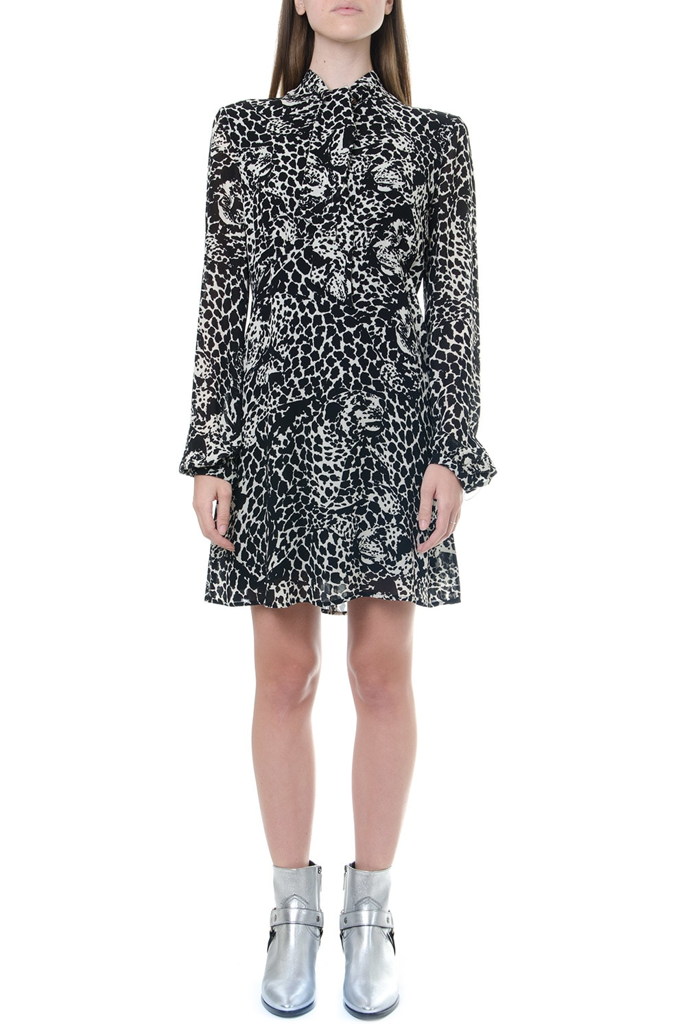 Saint Laurent Lavallière Dress In Viscose With Leopard S Head Print