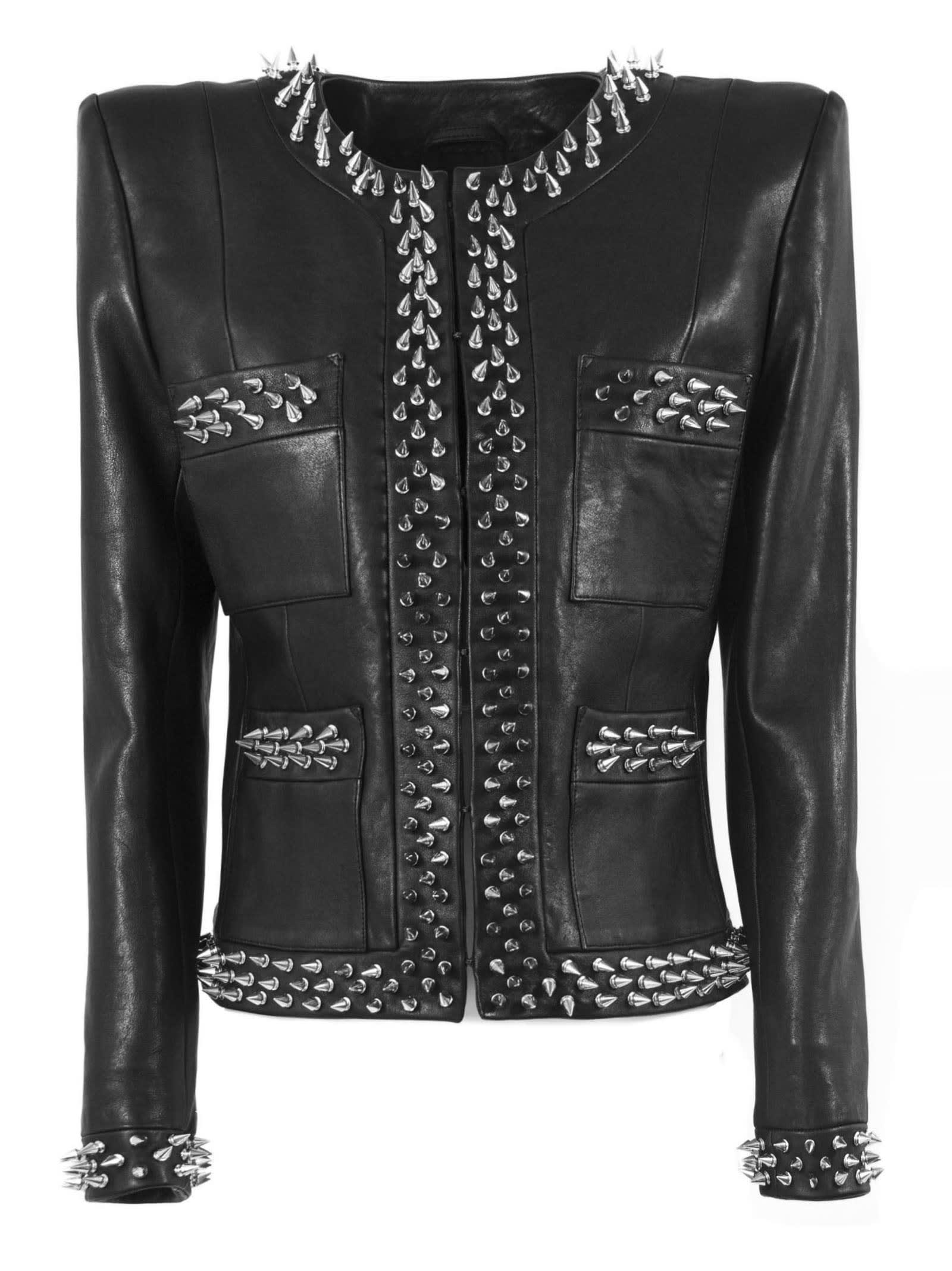 Balmain Black And Silver Viscose Suit Jacket