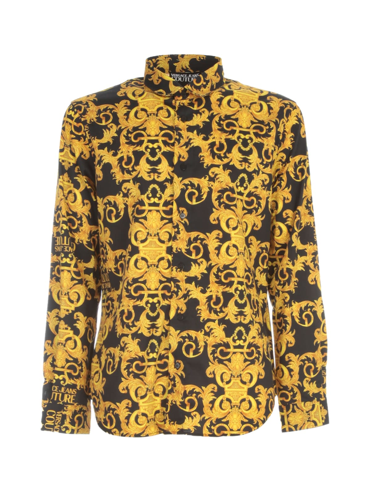 Versace Jeans Couture Slim Print Logo Baroque Cotton Twill Shirt In Nero
