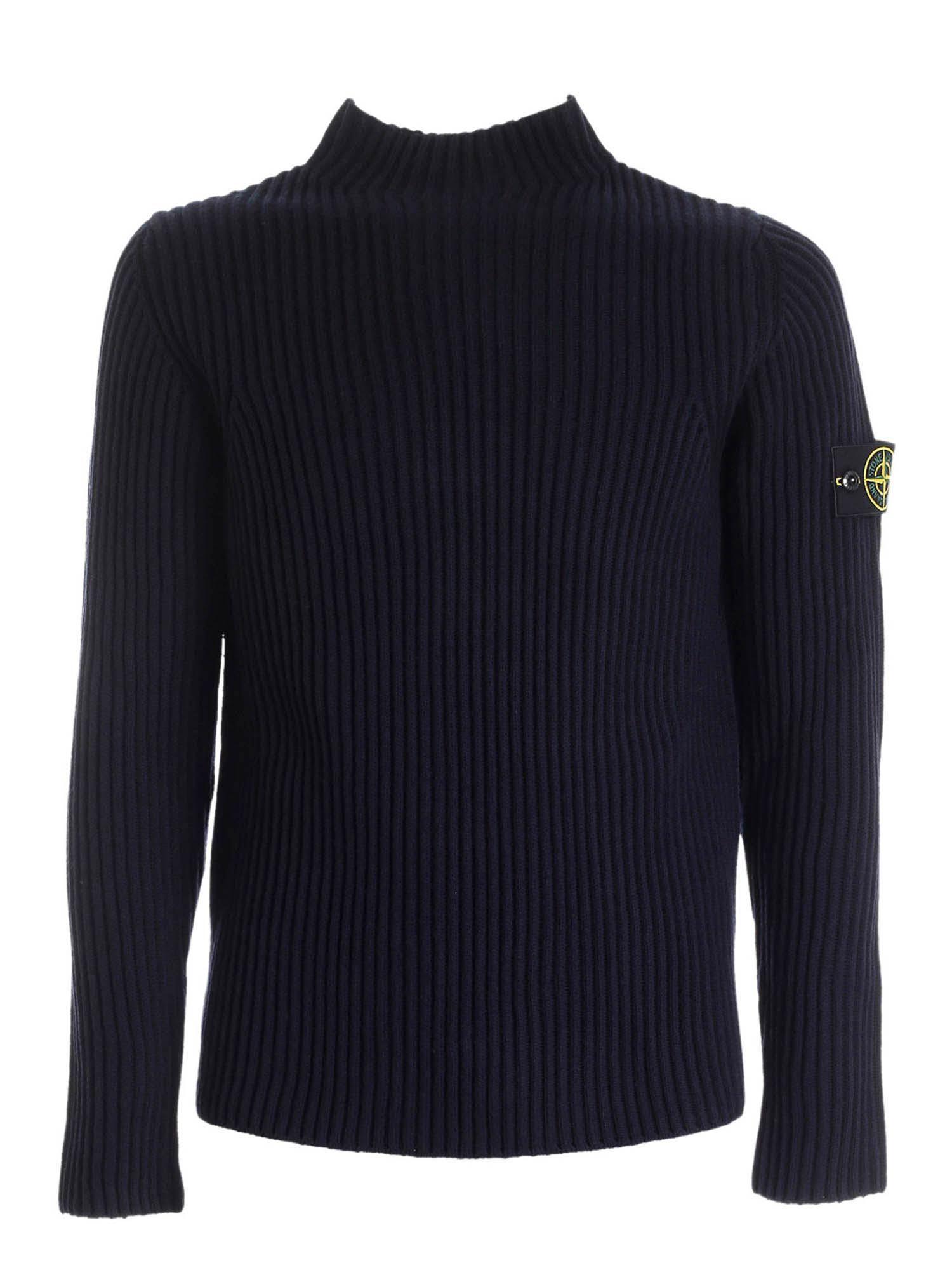 Stone Island Sweaters RIBBED HIGH COLLAR SWEATER