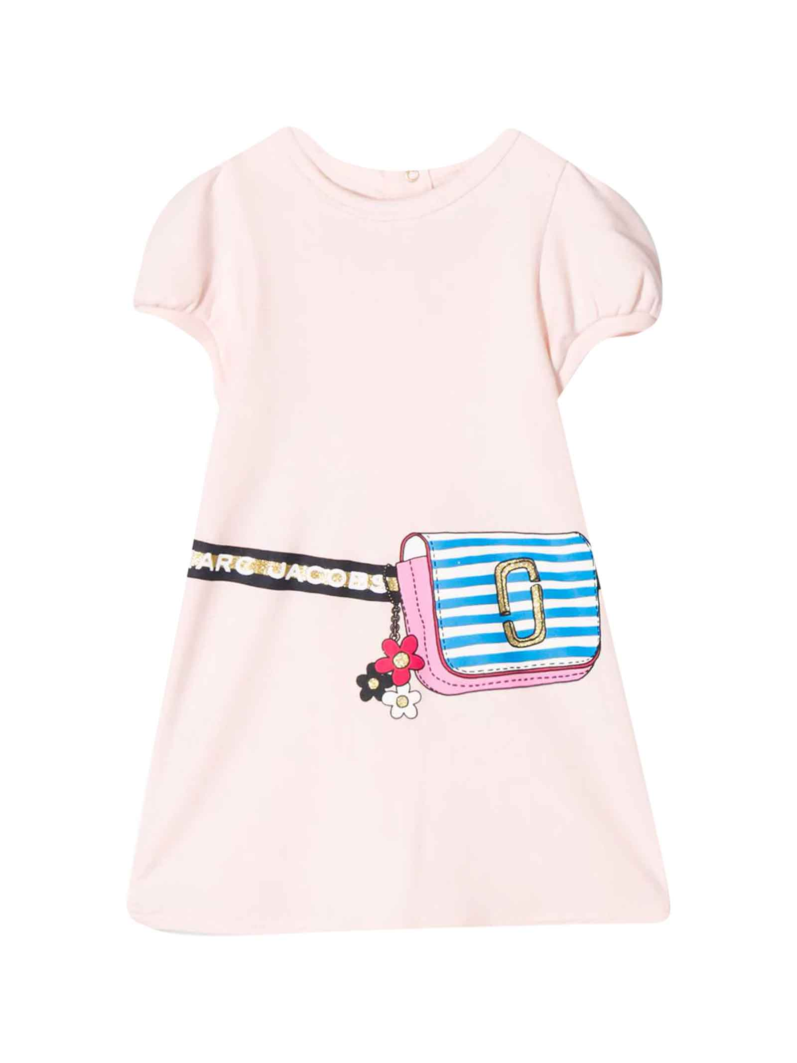 Buy Little Marc Jacobs Pink Dress With Logo Press online, shop Little Marc Jacobs with free shipping