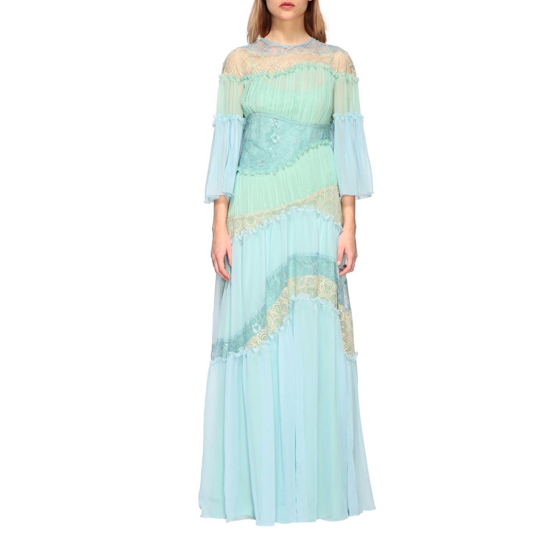 Buy Alberta Ferretti Dress Alberta Ferretti Maxi Dress In Pleated Waves And Lace online, shop Alberta Ferretti with free shipping
