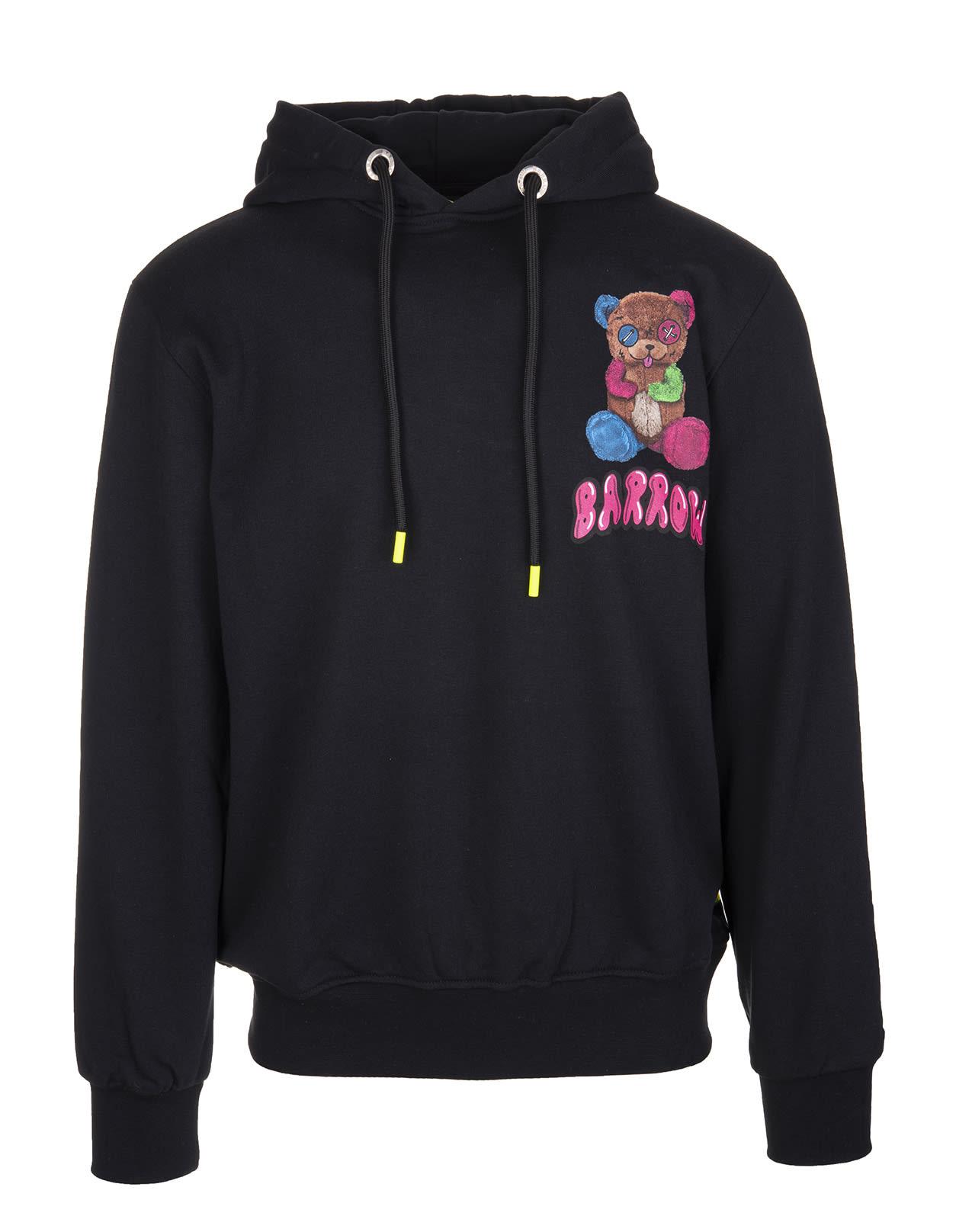 Barrow Black Hoodie With Multicolored Teddy Bear Print In Nero