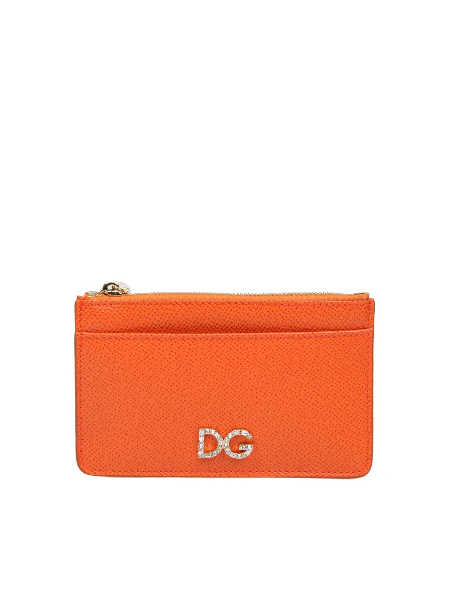 Dolce & Gabbana CARD HOLDER IN ORANGE COLOR DAUPHINE