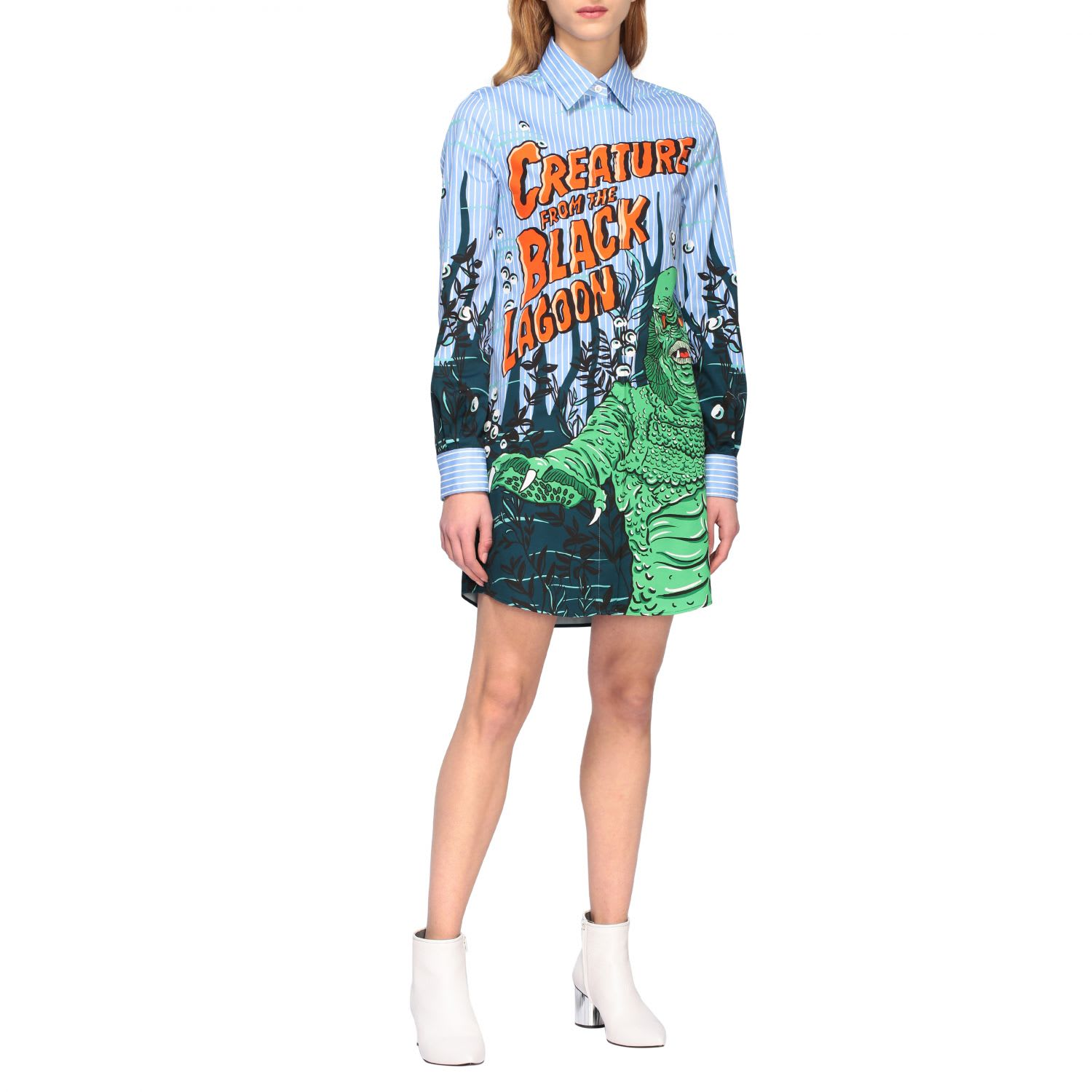 Buy Moschino Couture Dress Moschino Couture Shirt Dress With Monster Print online, shop Moschino with free shipping