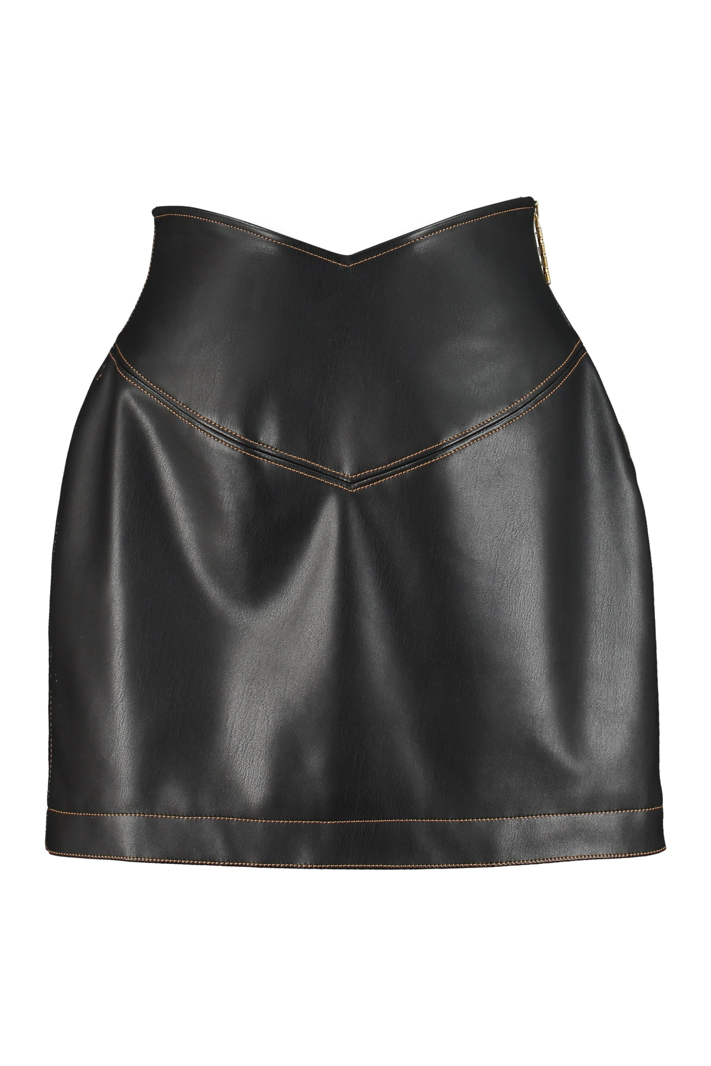 Gcds Faux Leather Mini Skirt In Black