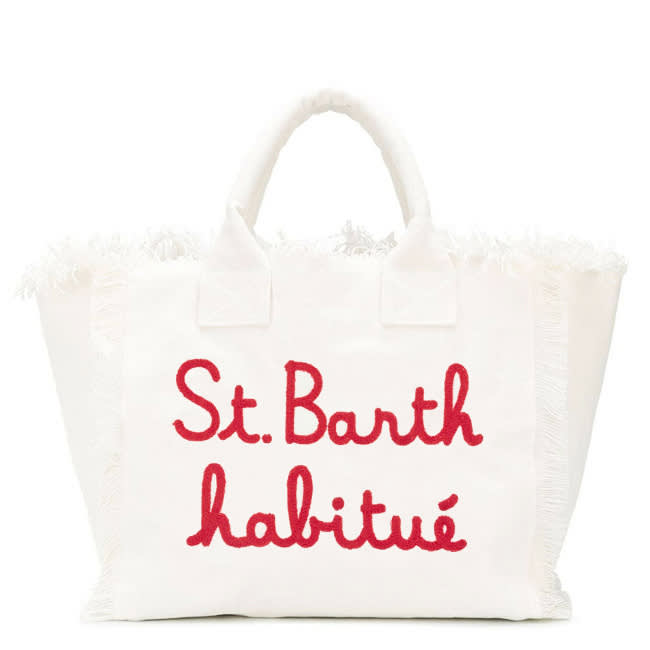 White Canvas Bag With Embroidered S Barth Habituè