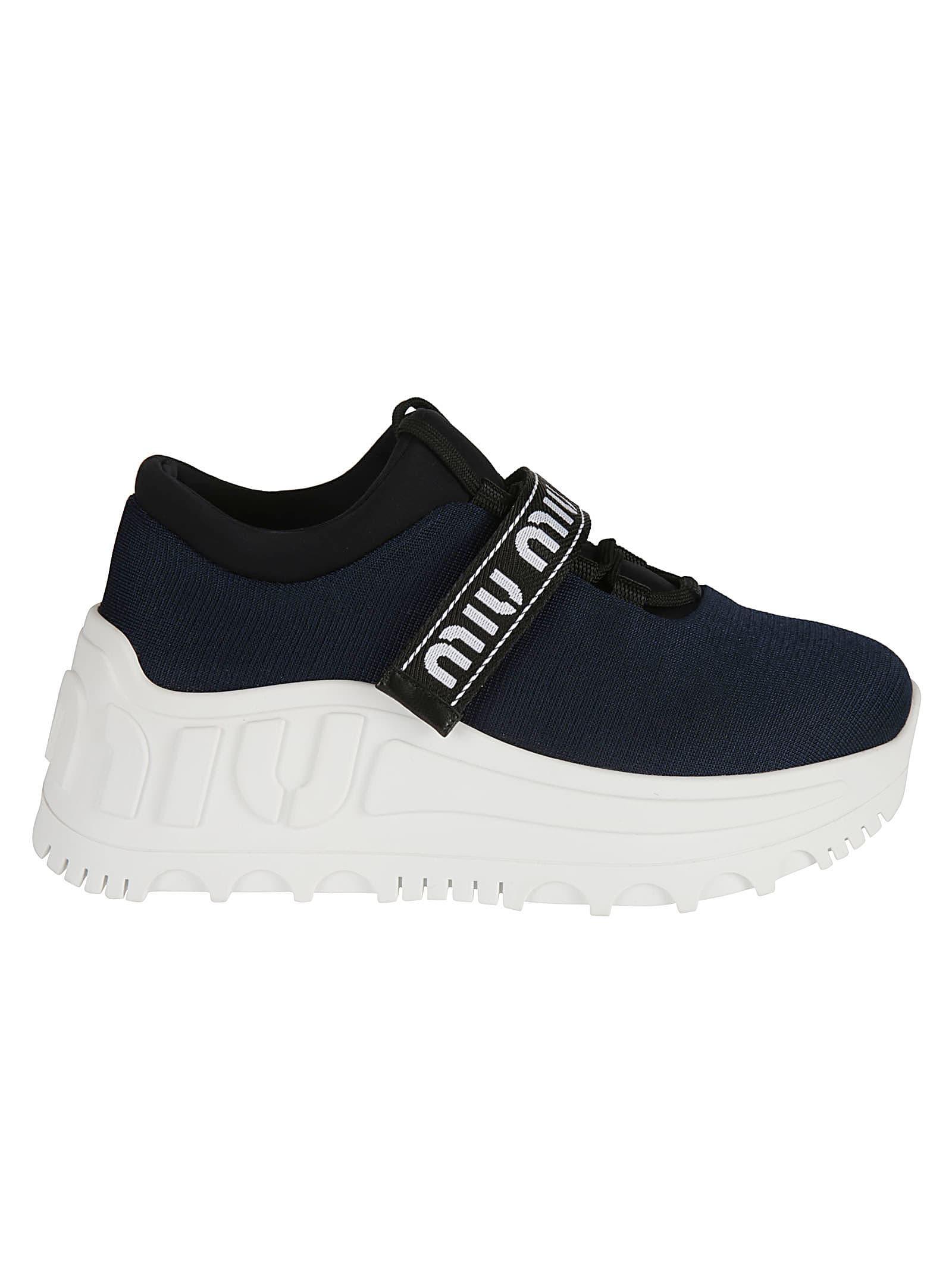 meet cb252 7da89 Miu Miu Logo Platform Sneakers