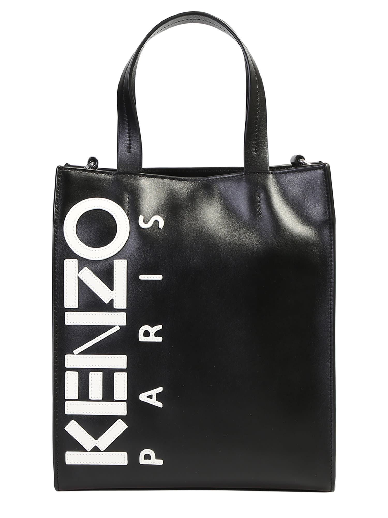 0008b896 Kenzo Logo Patch Tote Leather Bag