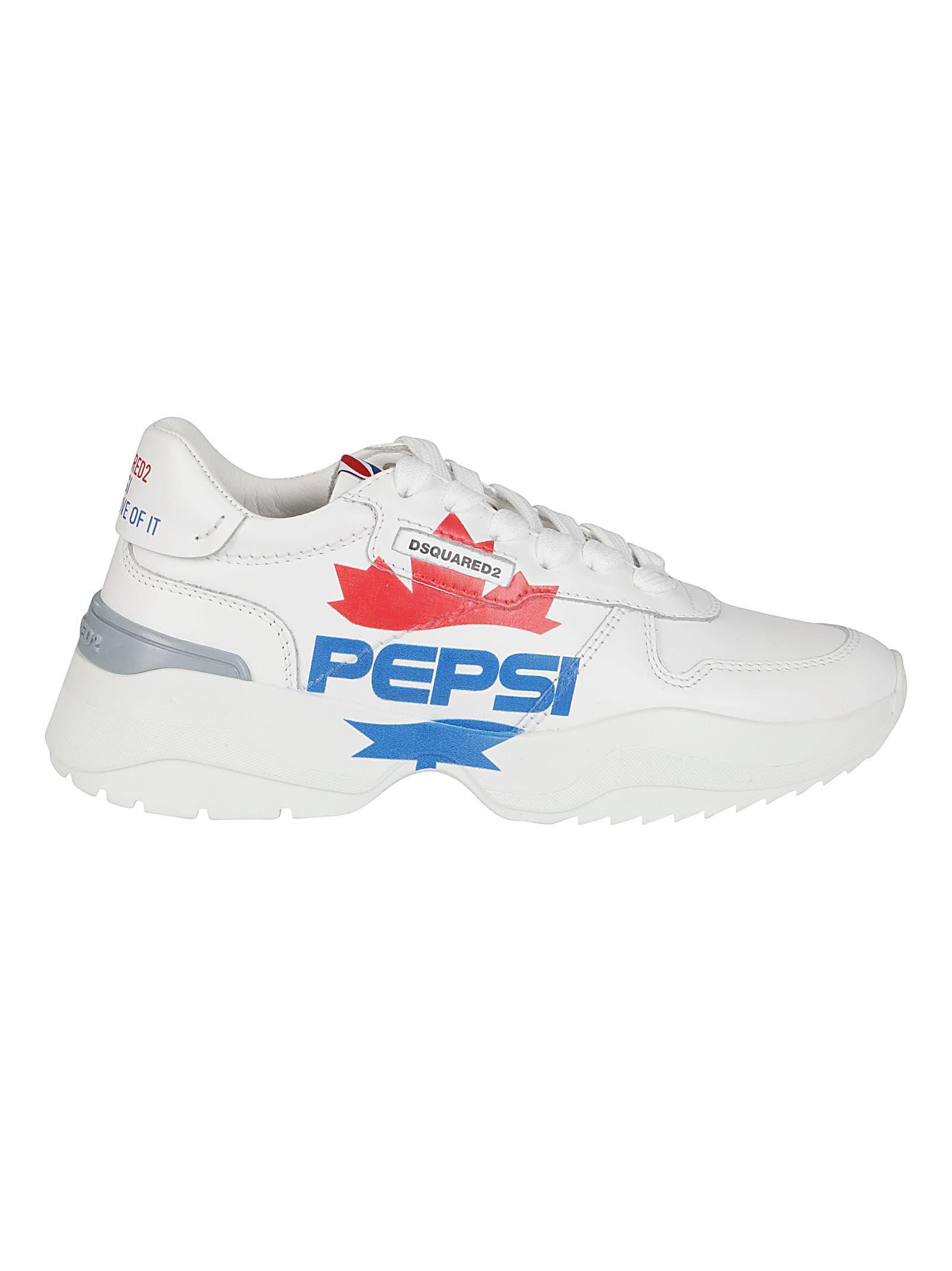 White Leather Pepsi Sneakers