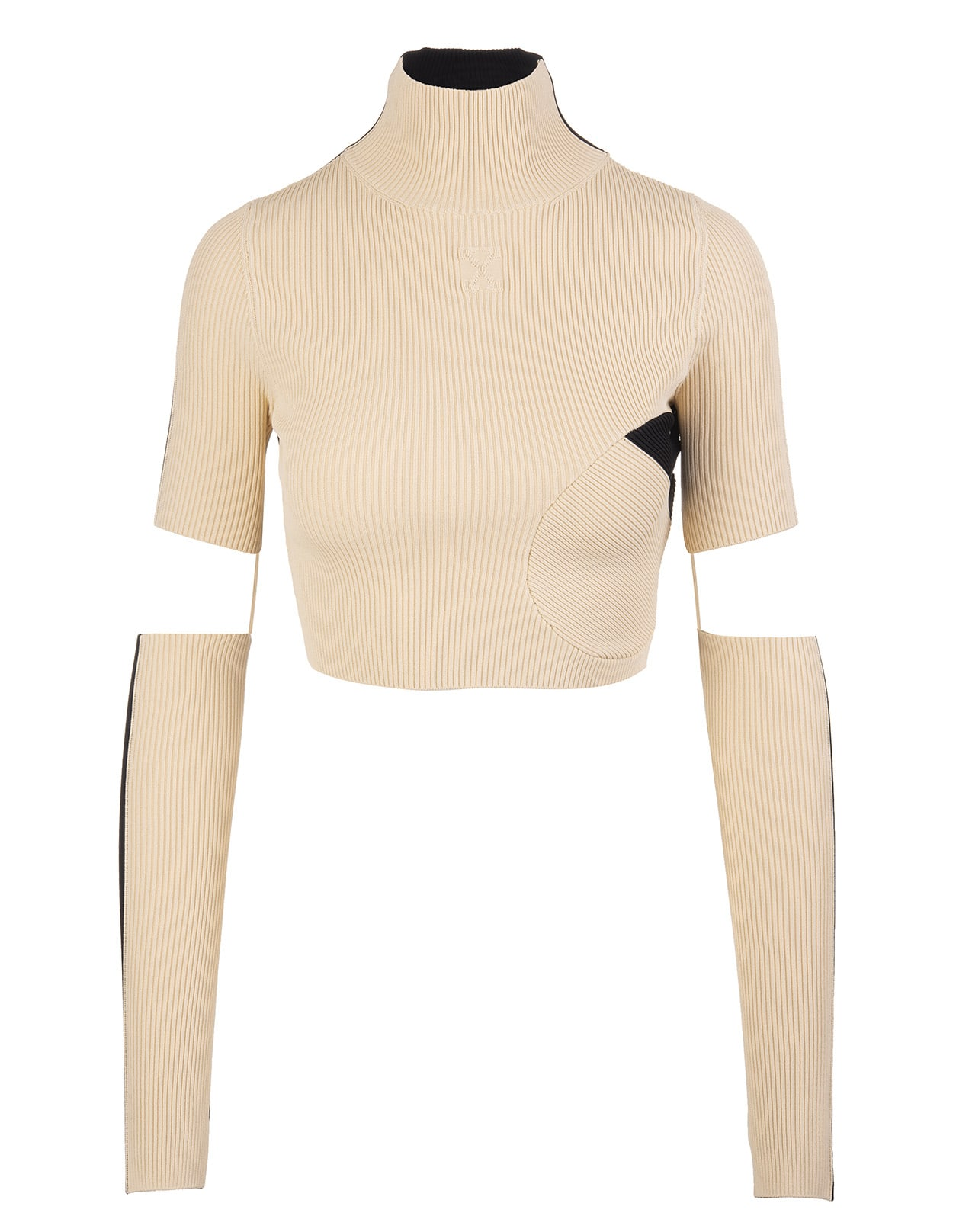 Woman Beige And Black Ribbed Knit Top