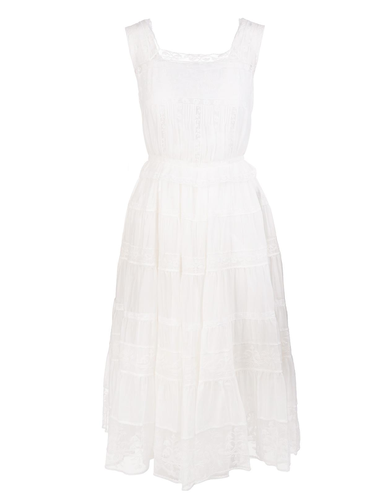 Ermanno Scervino White Midi Dress With Lace Inserts