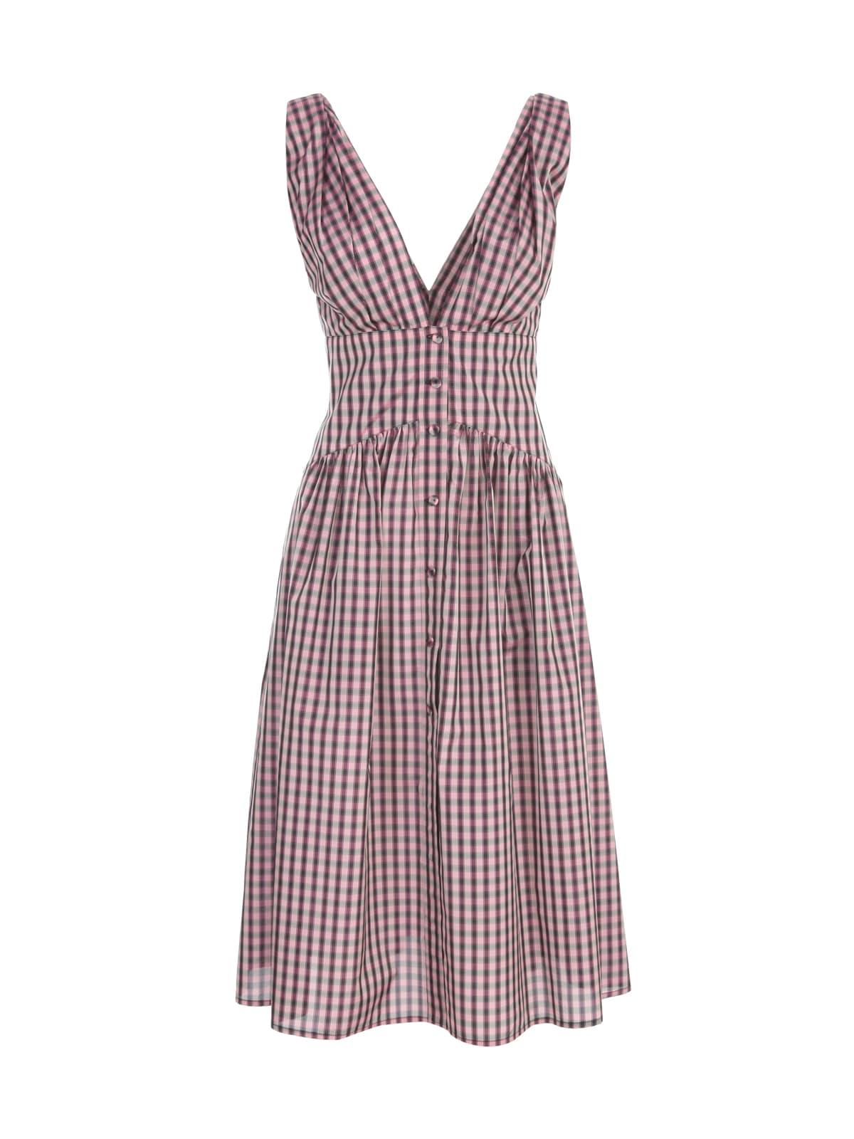 Buy Philosophy di Lorenzo Serafini Vichy Longuette V Neck Sleeveless Dress online, shop Philosophy di Lorenzo Serafini with free shipping