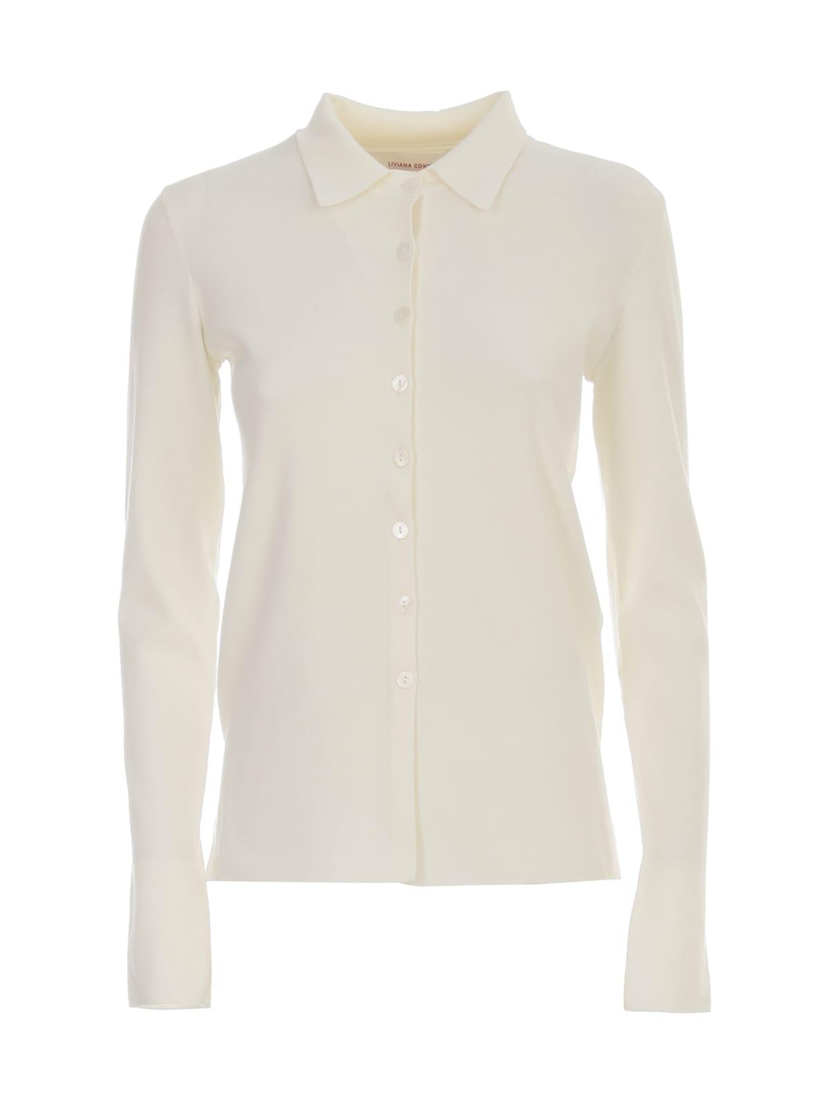Plain Knit Shirt W/collar