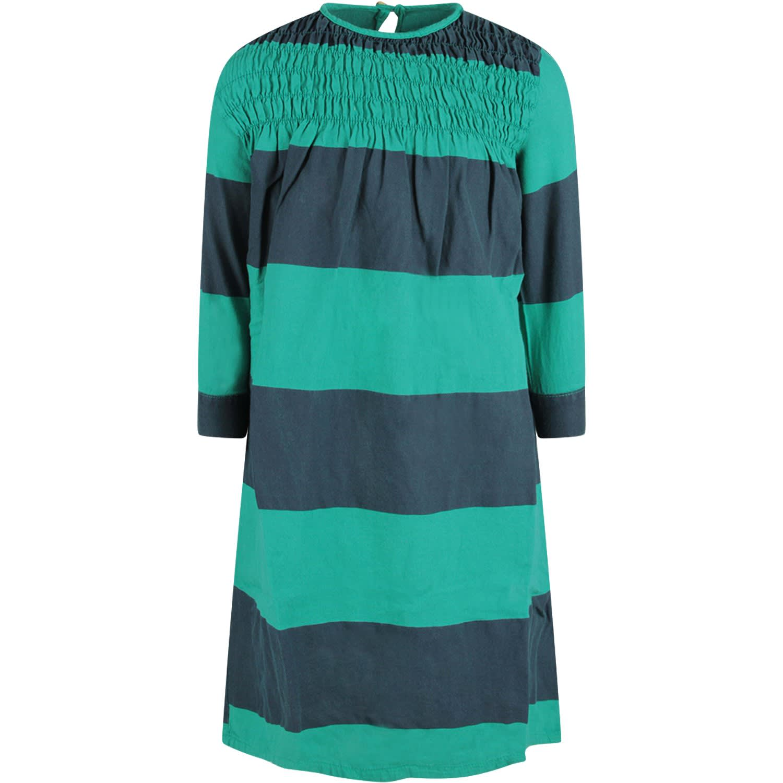 Bobo Choses Green Striped Girl Dress