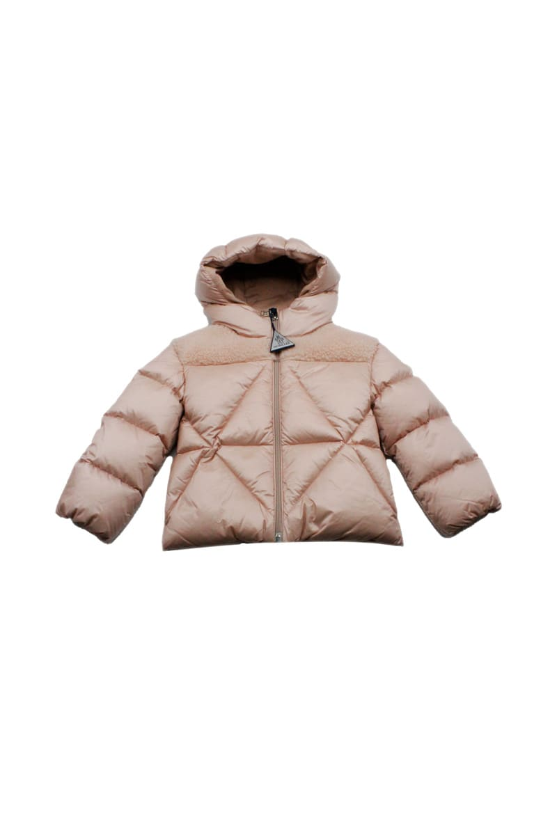 Moncler Arabette Down Jacket With Diamond Quilting With Hood And Zip Closure With Teddy Bear Inserts On The Shoulders
