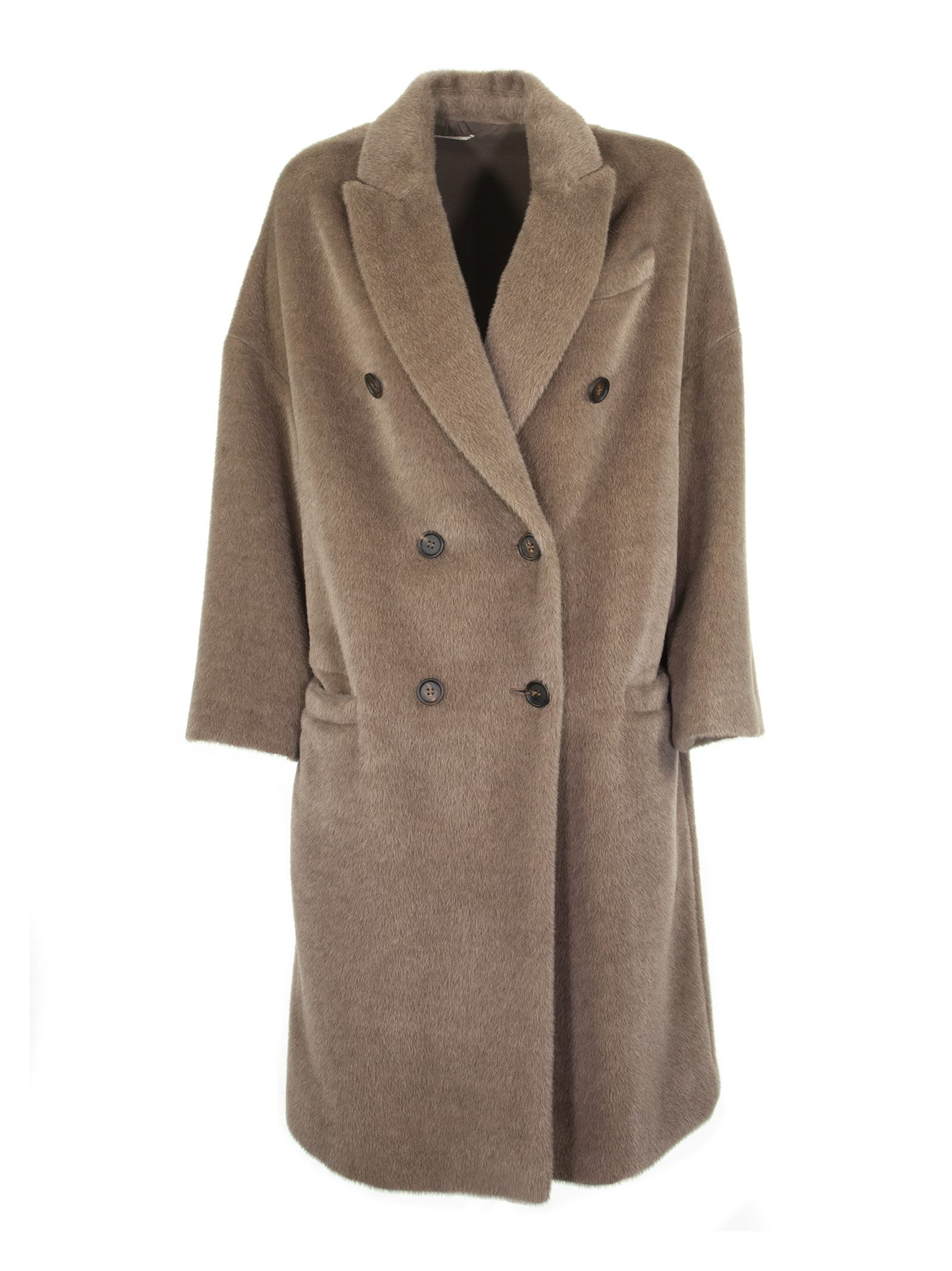 Photo of  Brunello Cucinelli Alpaca And Virgin Wool Double-breasted Coat With Monil Brown Coat- shop Brunello Cucinelli jackets online sales