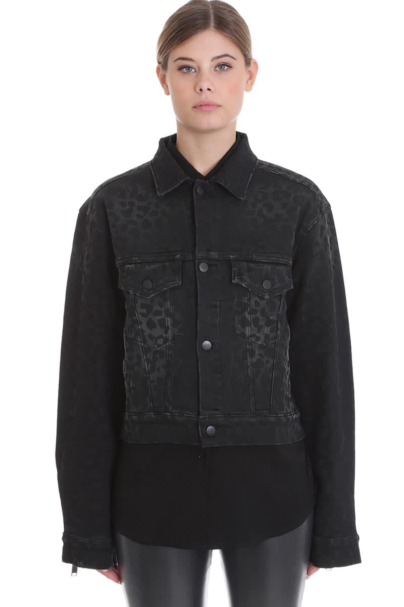 Marcelo Burlon Casual Jacket In Black Denim