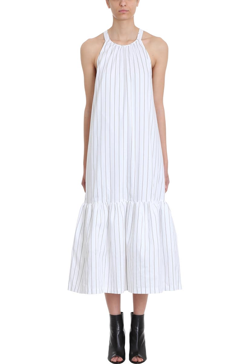 3.1 Phillip Lim Cutout-back Flared White Cotton Blend Dress