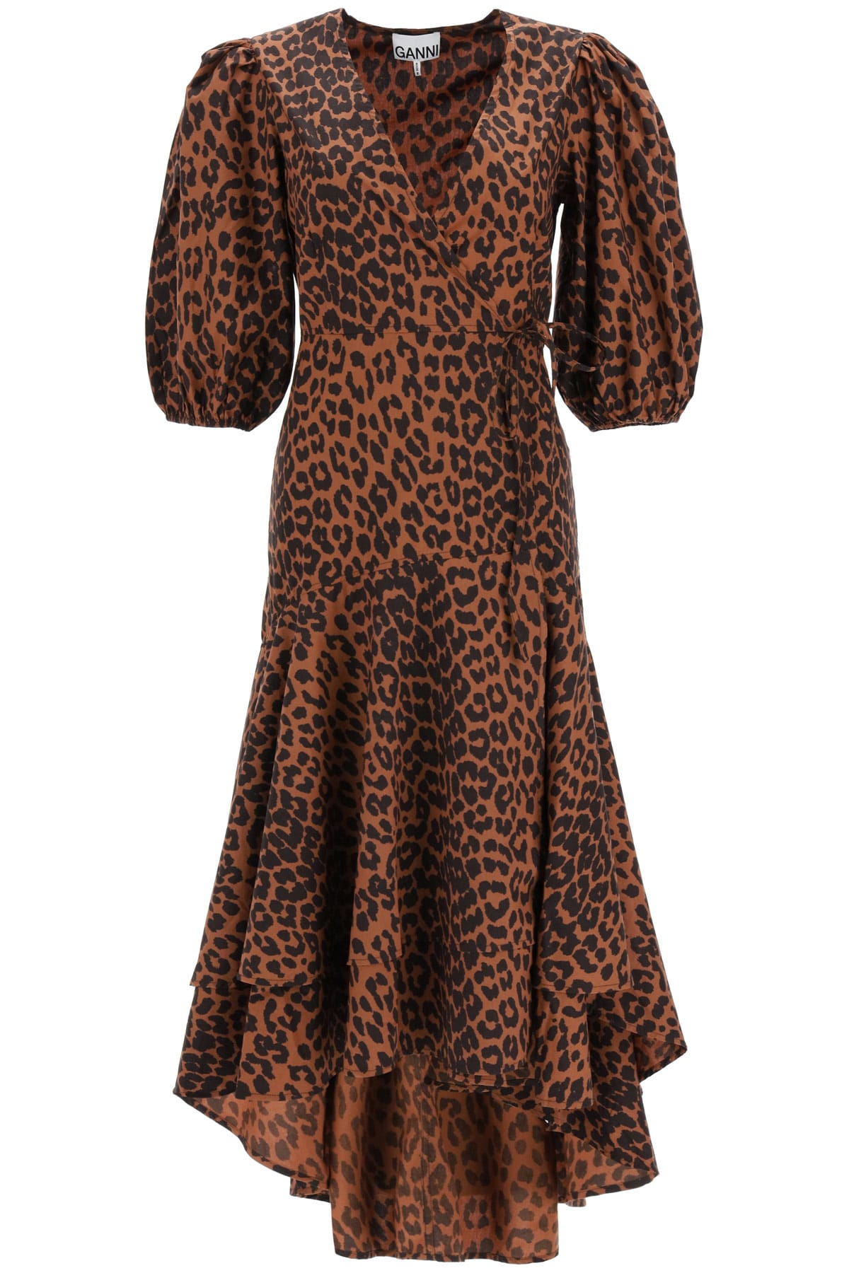 Ganni Asymmetrical Leopard Print Dress