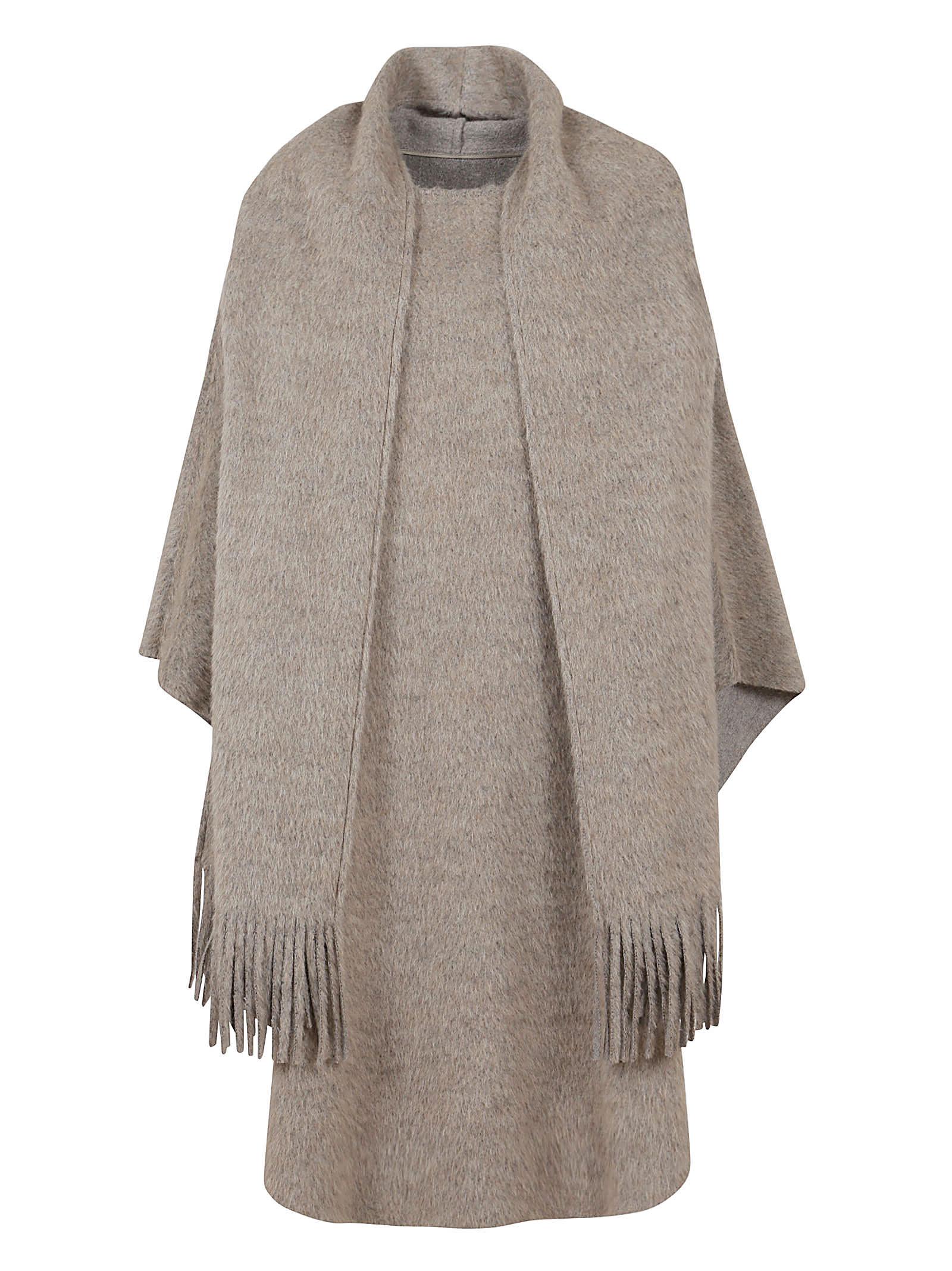 Grey Wool Poncho